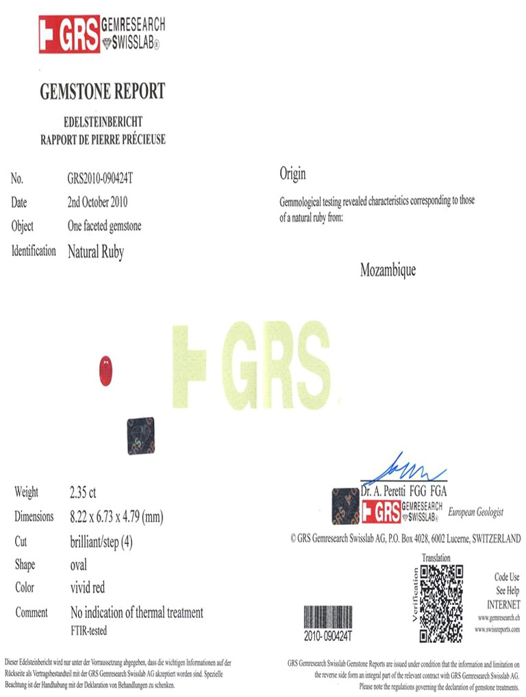 Natural Untreated Ruby U4978 Certification 3