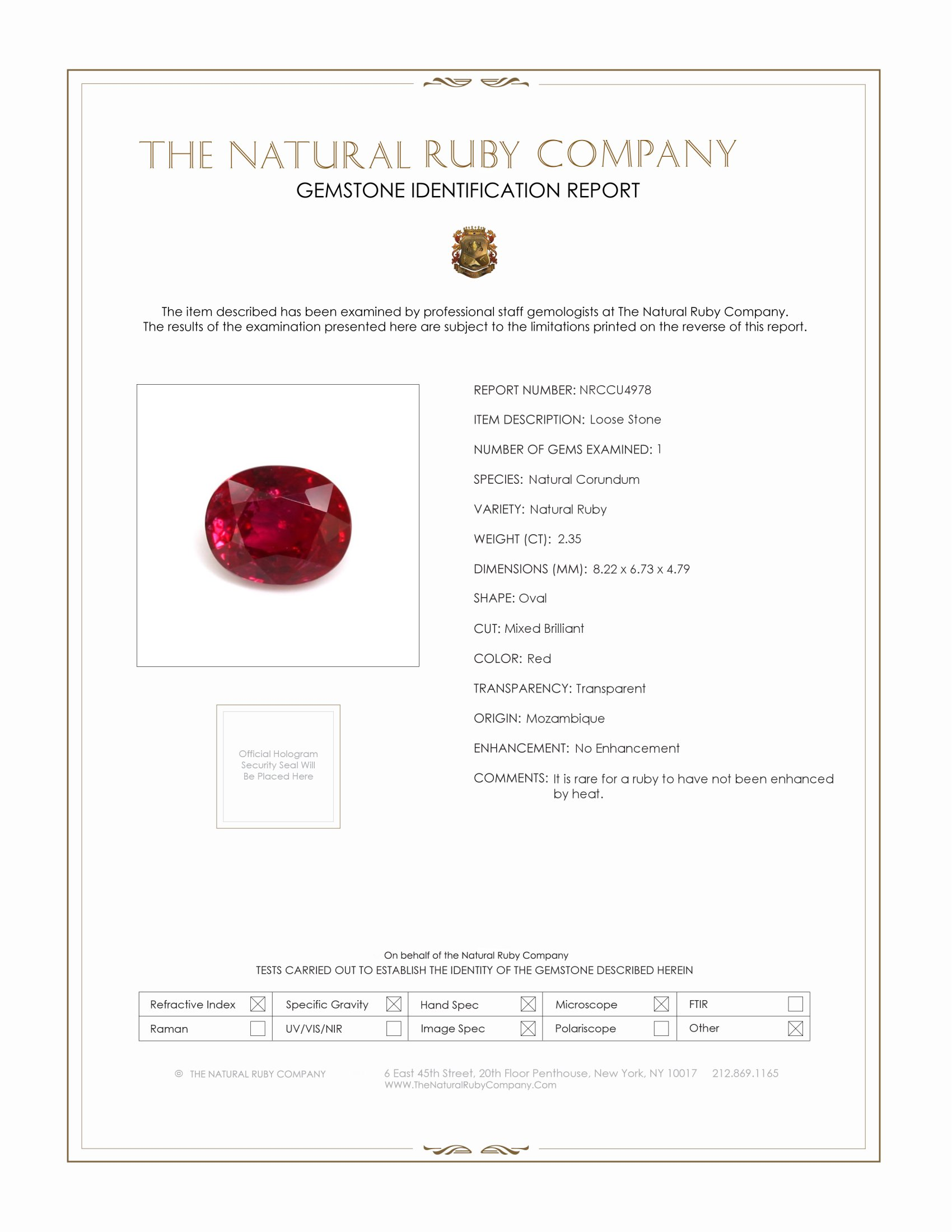 Natural Untreated Ruby U4978 Certification