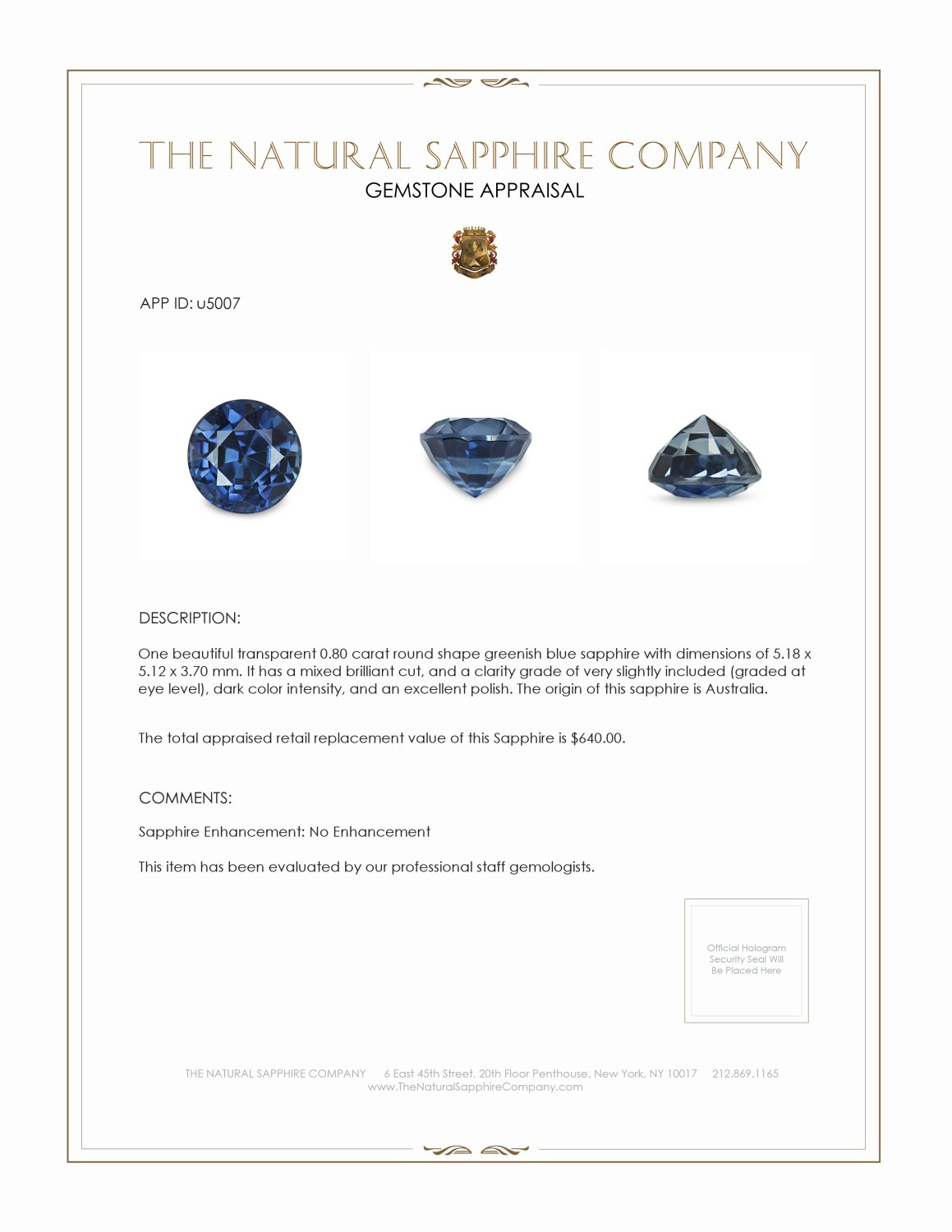 Natural Untreated Greenish Blue Sapphire U5007 Certification