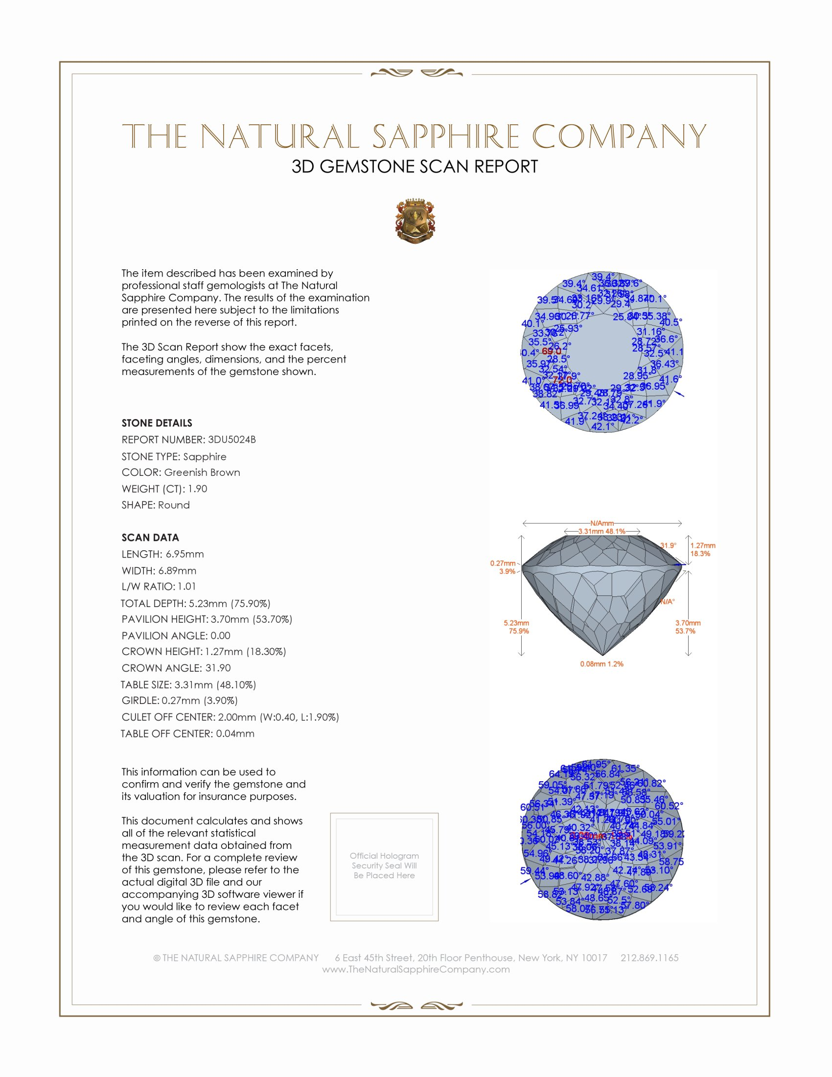 Natural Untreated Multi-Color Sapphire U5024 Certification 2