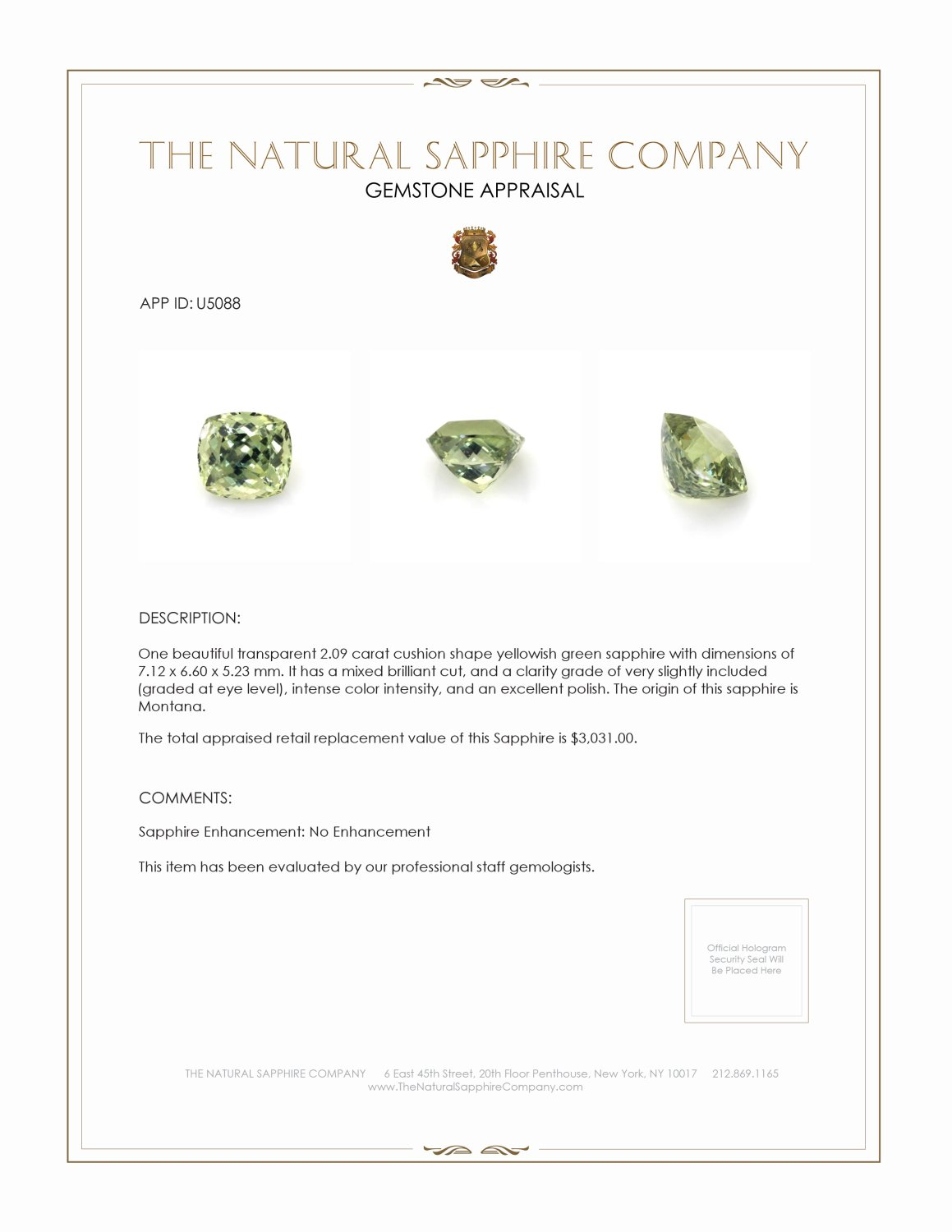 Natural Untreated Yellowish Green Sapphire U5088 Certification 3