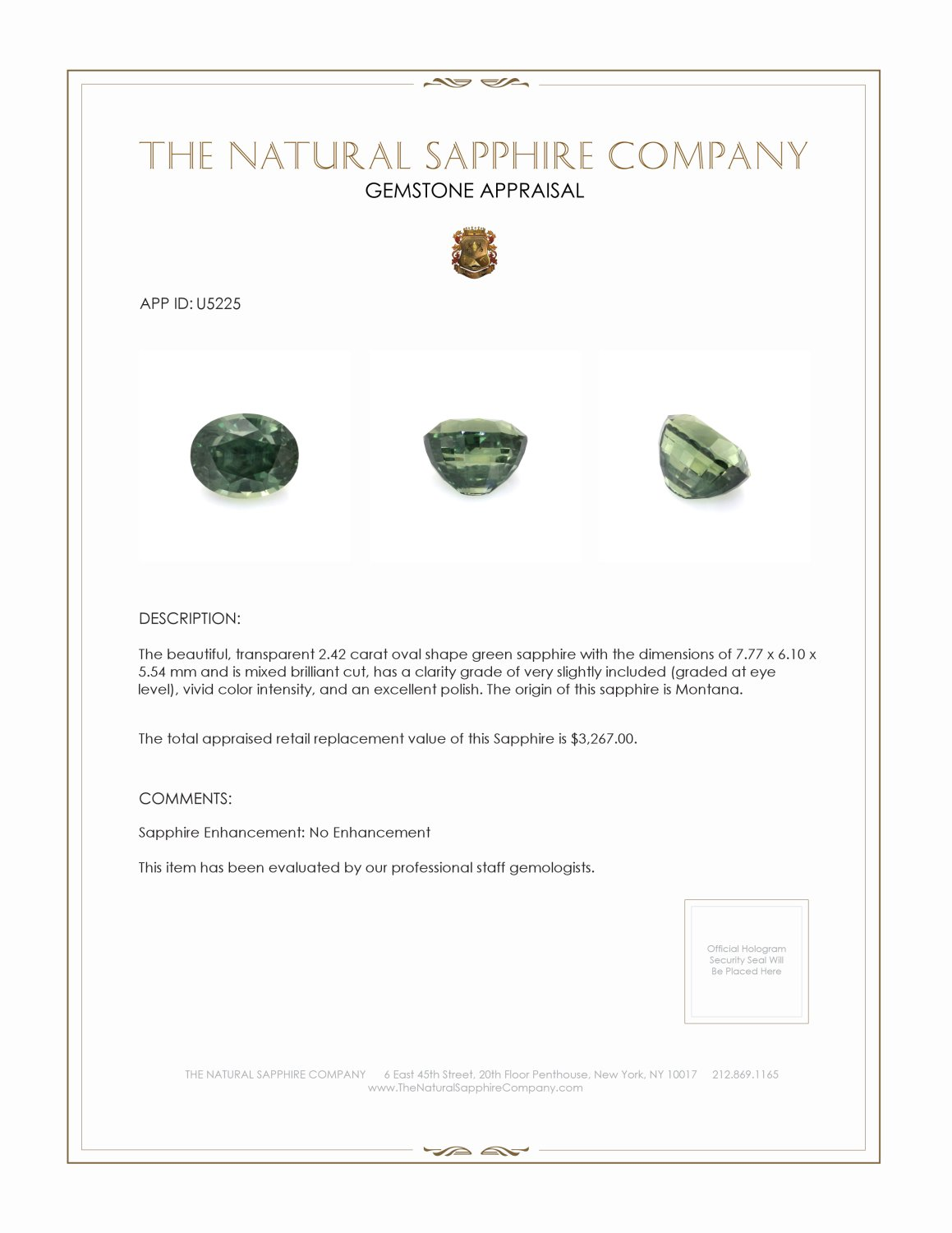 Natural Untreated Yellowish Green Sapphire U5225 Certification 3