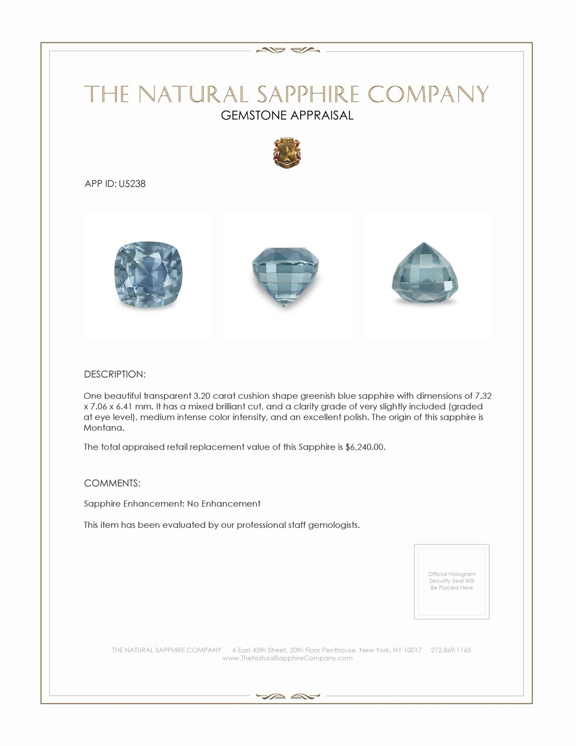 Natural Untreated Greenish Blue Sapphire U5238 Certification