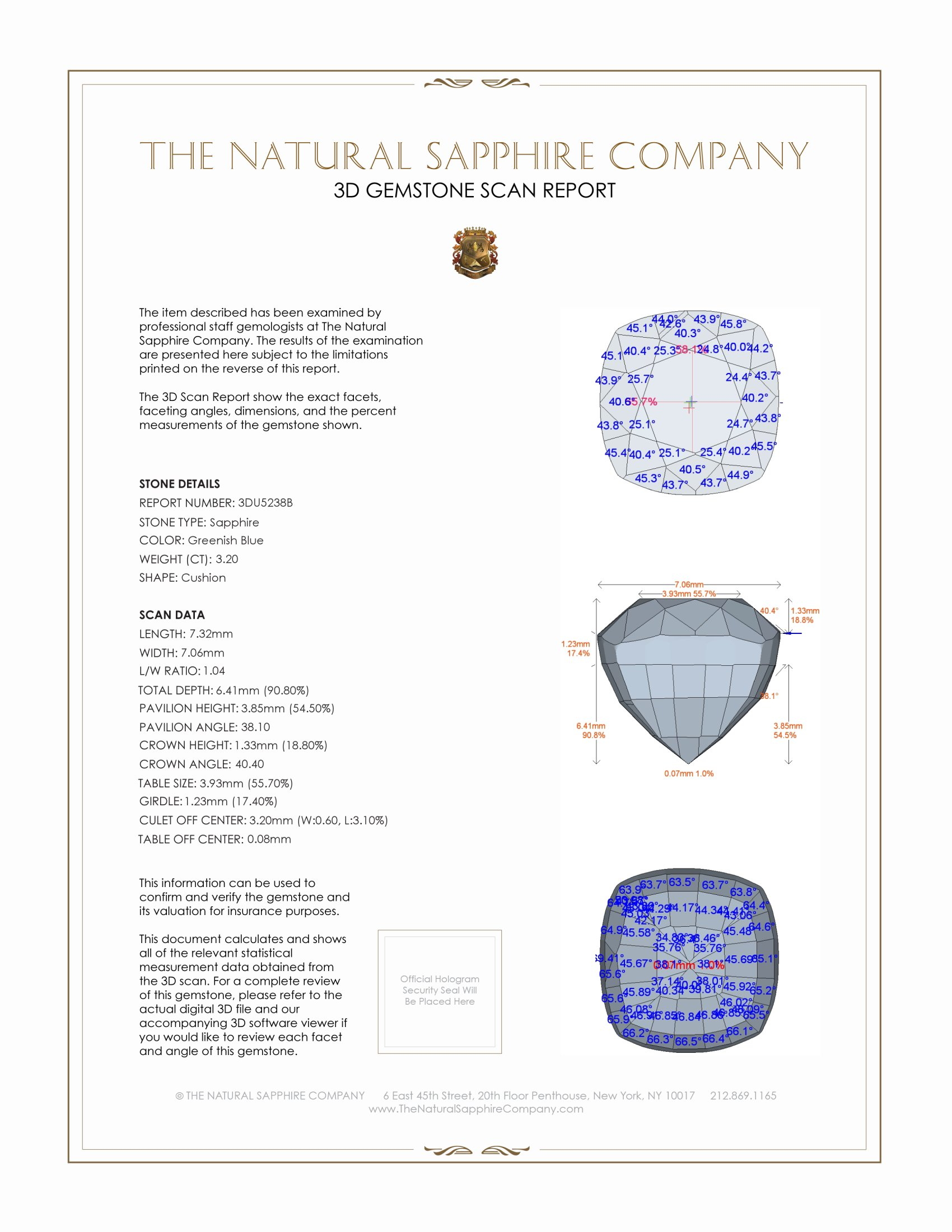 Natural Untreated Greenish Blue Sapphire U5238 Certification 2