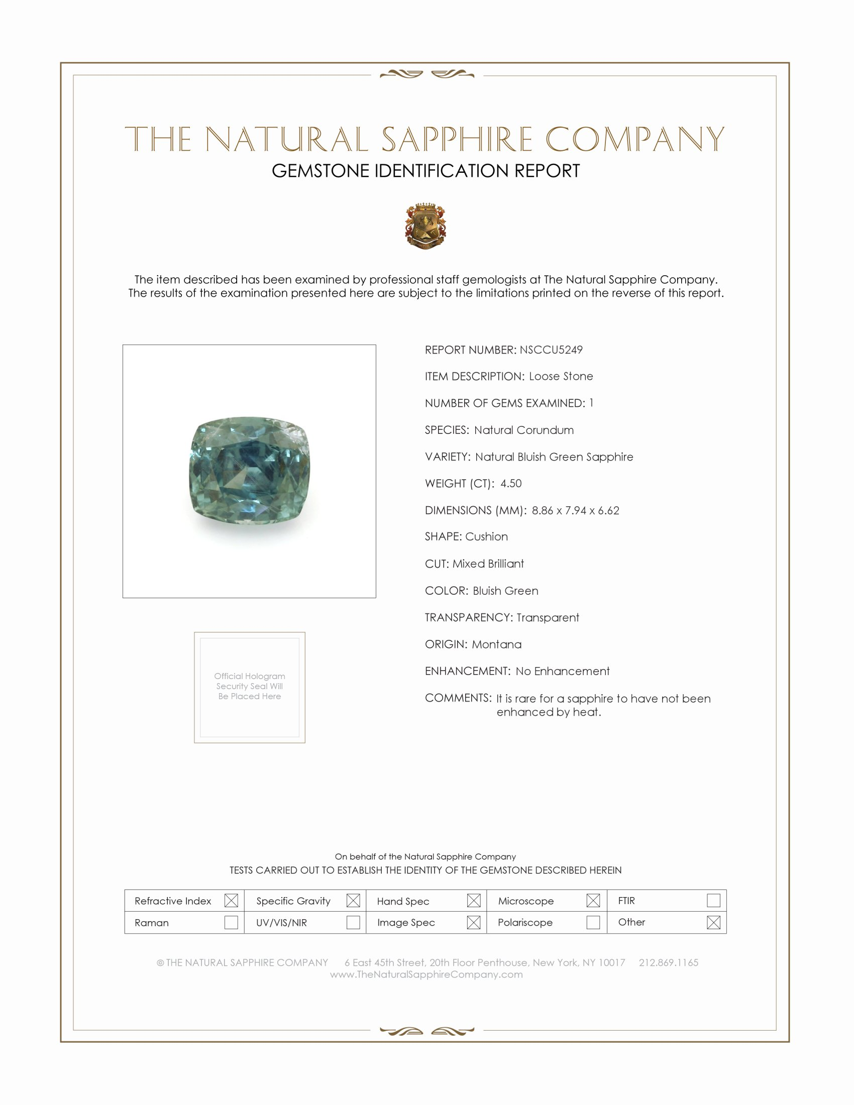 Natural Untreated Bluish Green Sapphire U5249 Certification