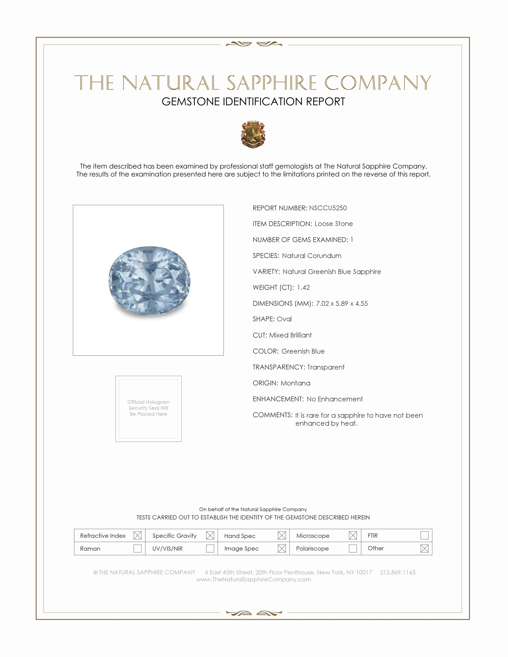 Natural Untreated Greenish Blue Sapphire U5250 Certification