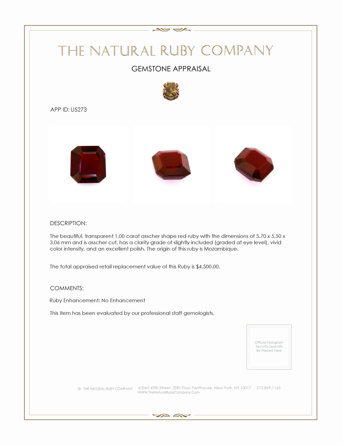 Natural Untreated Ruby U5273 Certification 4