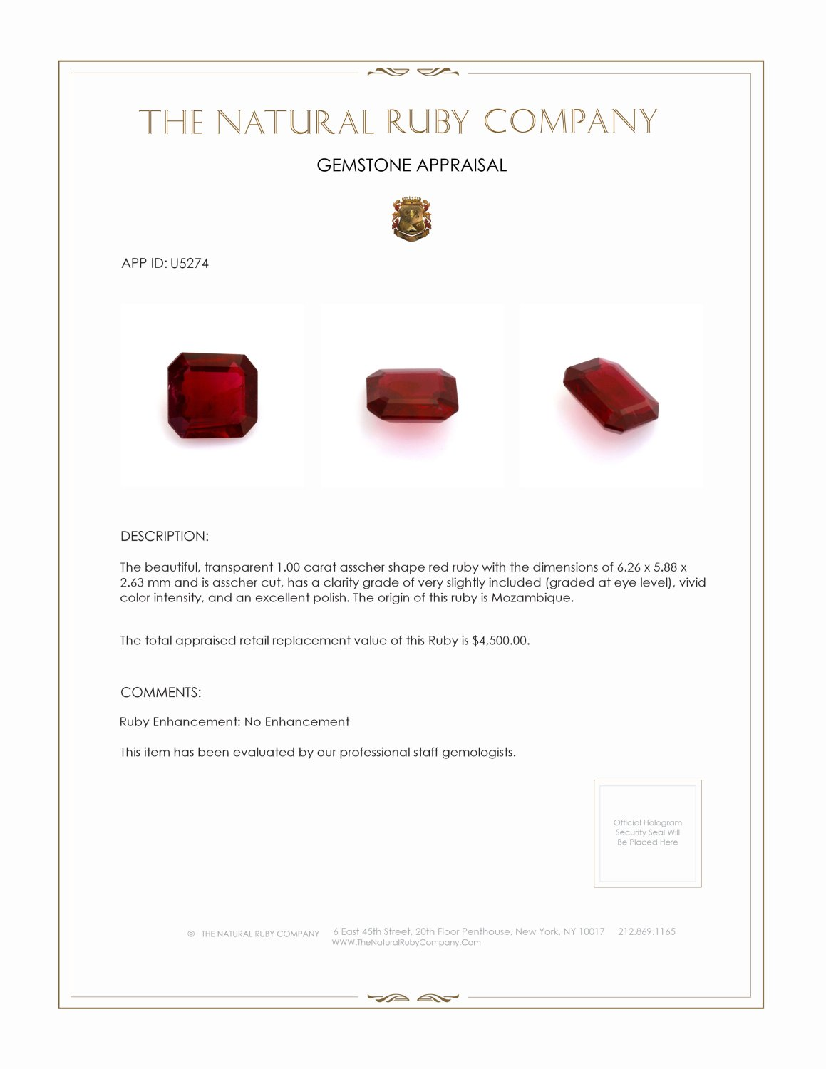 Natural Untreated Ruby U5274 Certification 3
