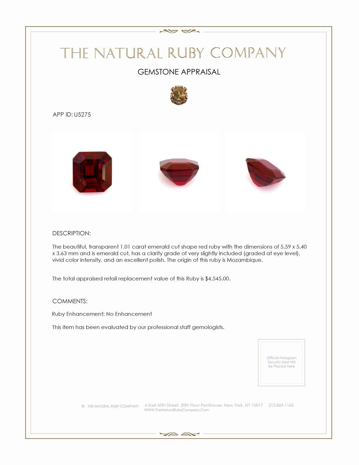 Natural Untreated Ruby U5275 Certification 4