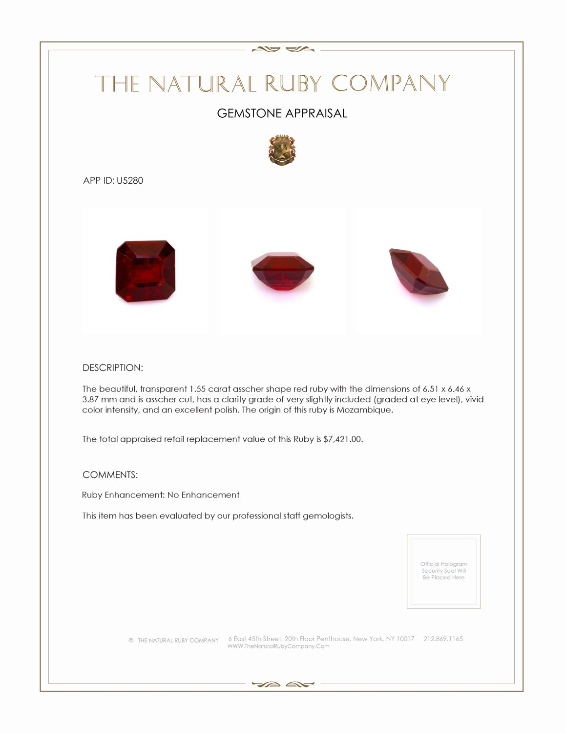Natural Untreated Ruby U5280 Certification 4
