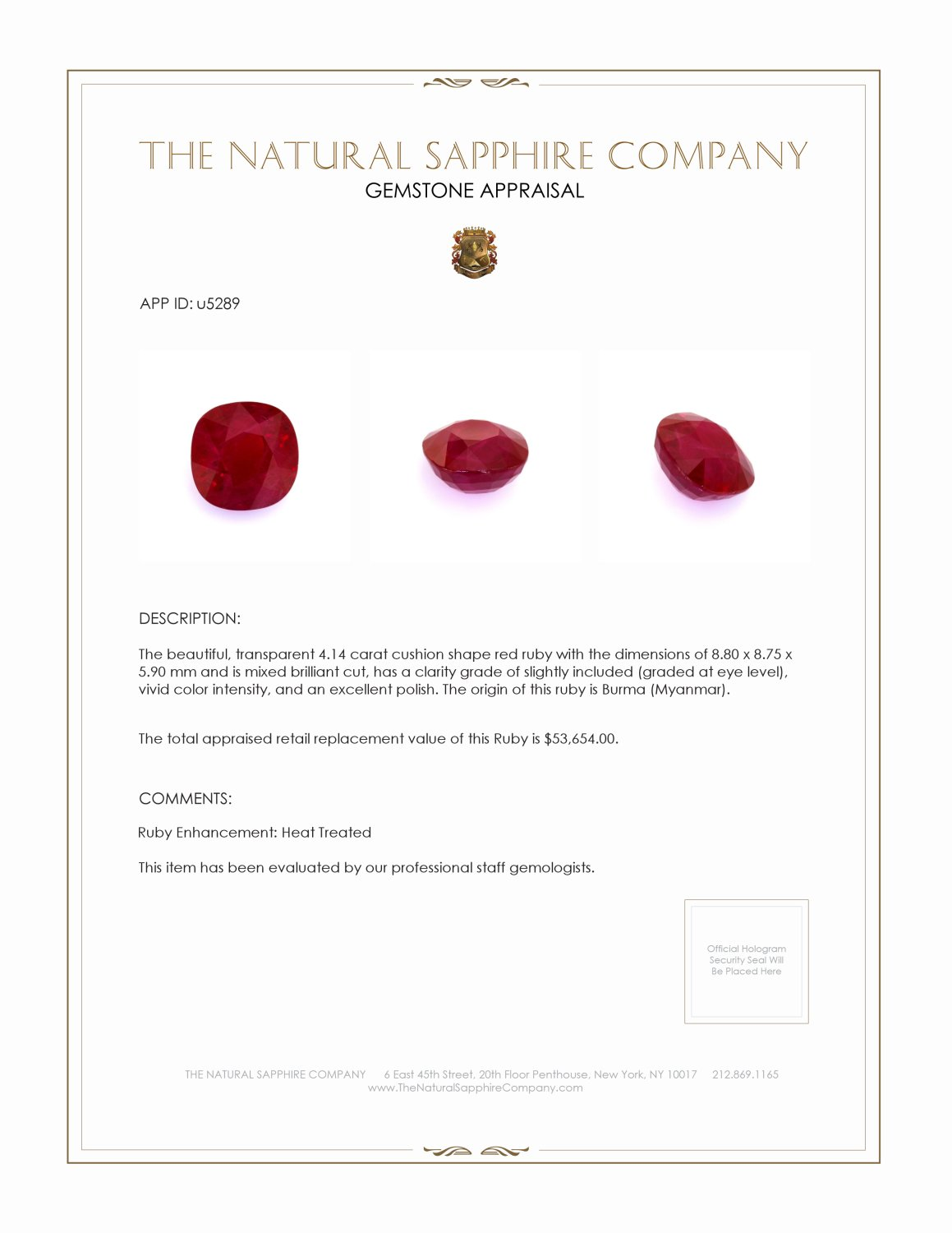 Natural Ruby U5289 Certification 4