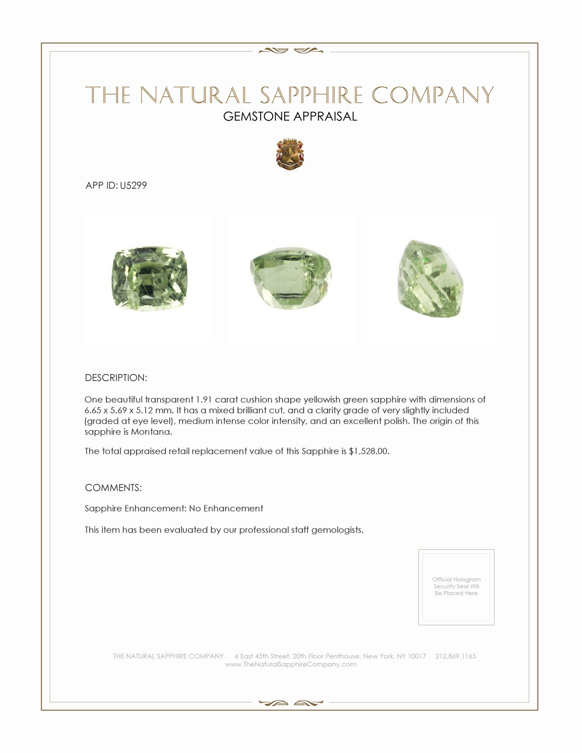 Natural Untreated Yellowish Green Sapphire U5299 Certification 3