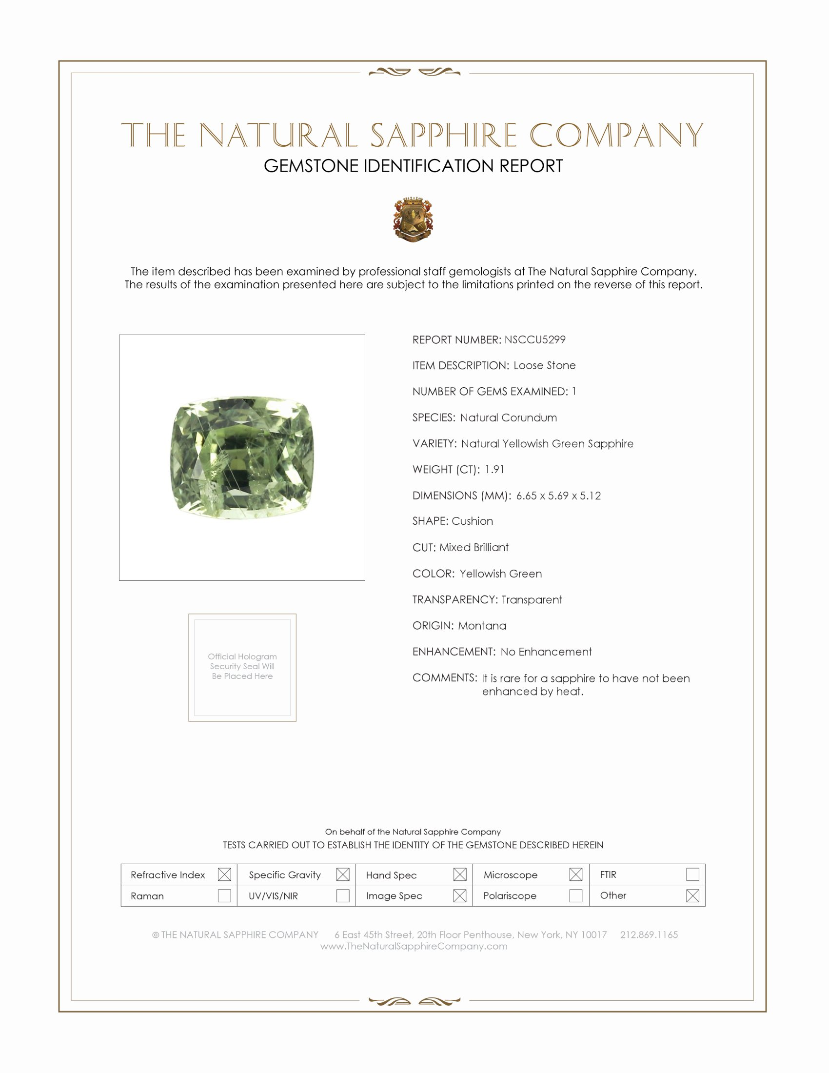 Natural Untreated Yellowish Green Sapphire U5299 Certification