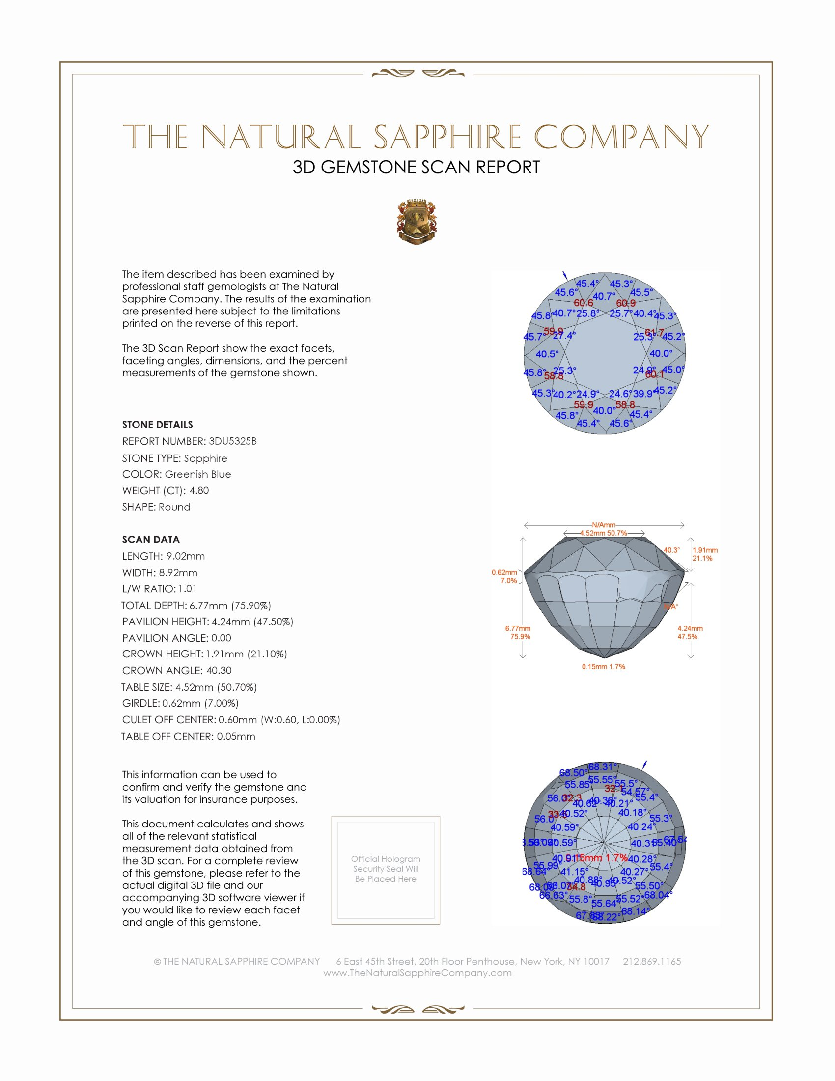 Natural Untreated Greenish Blue Sapphire U5325 Certification 2