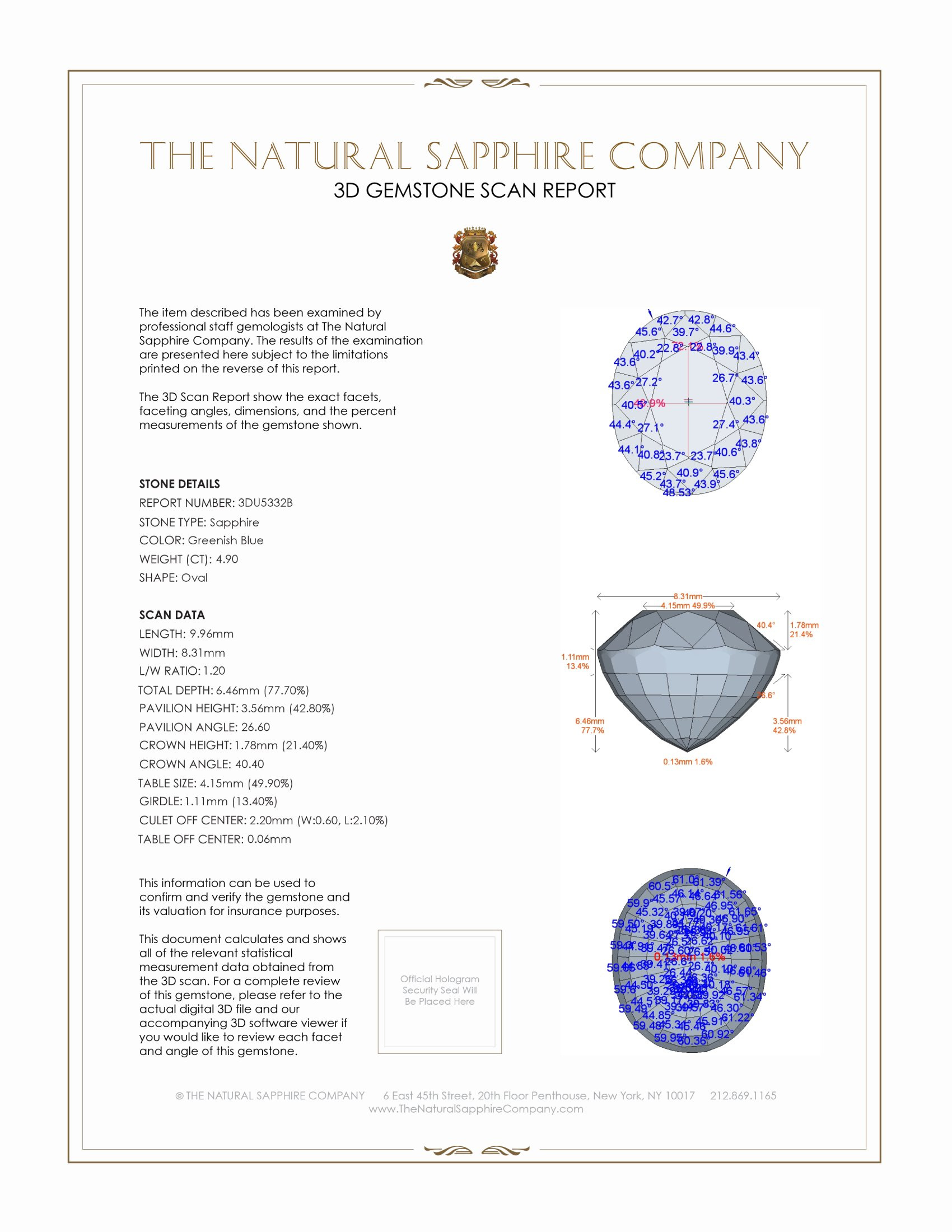 Natural Untreated Greenish Blue Sapphire U5332 Certification 2