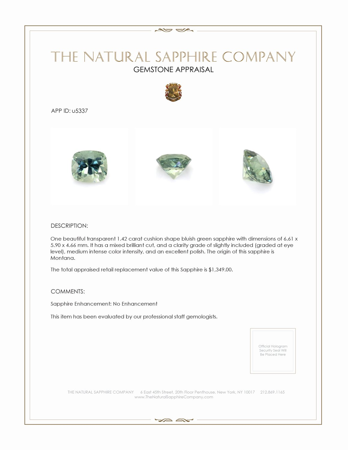 Natural Untreated Lime Sapphire U5337 Certification 3