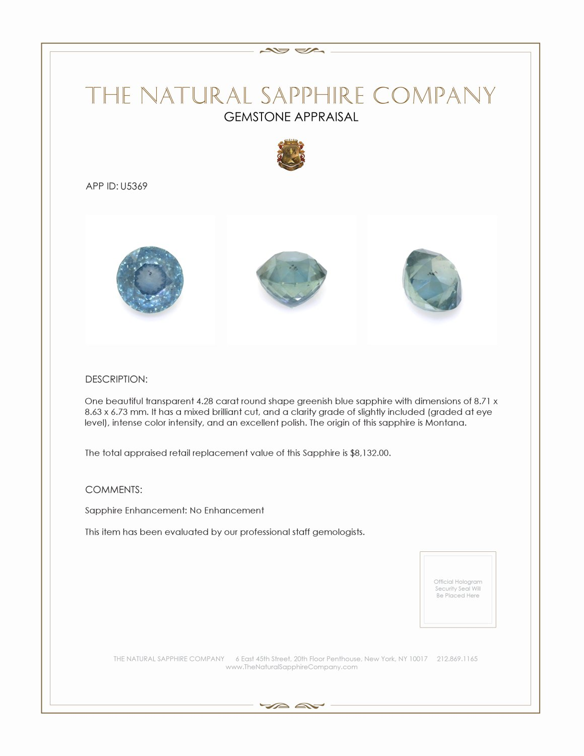 Natural Untreated Greenish Blue Sapphire U5369 Certification