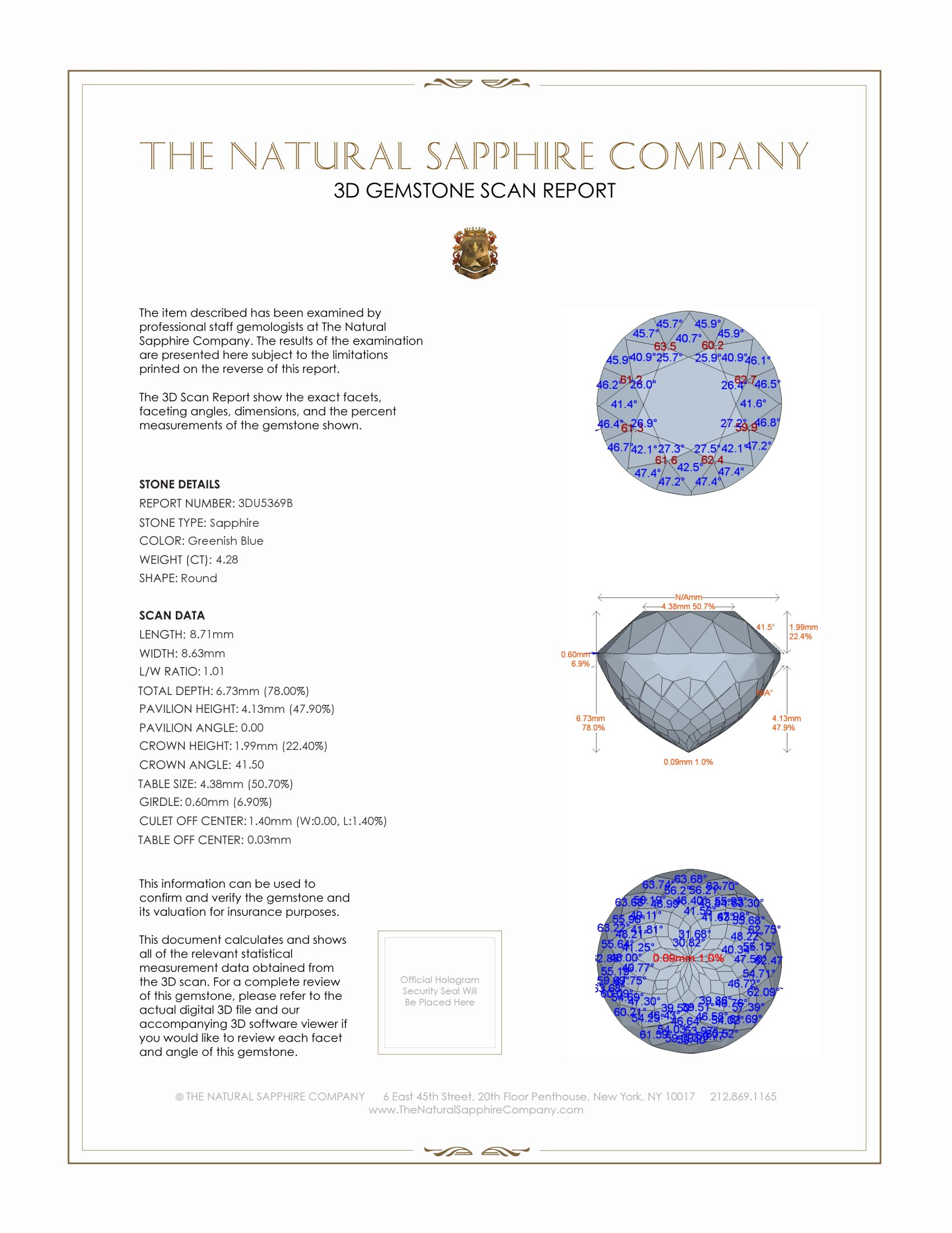 Natural Untreated Greenish Blue Sapphire U5369 Certification 2