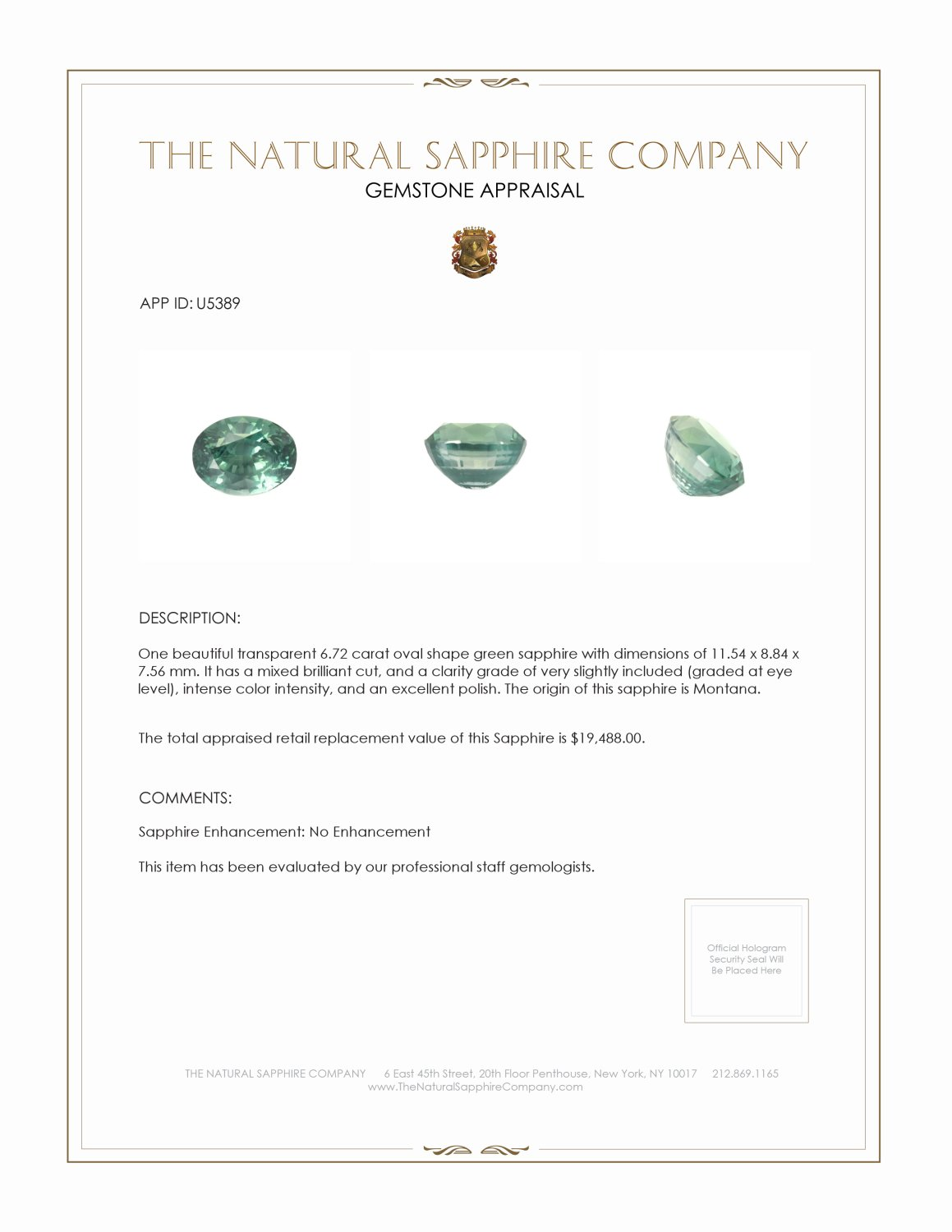 Natural Untreated Green Sapphire U5389 Certification