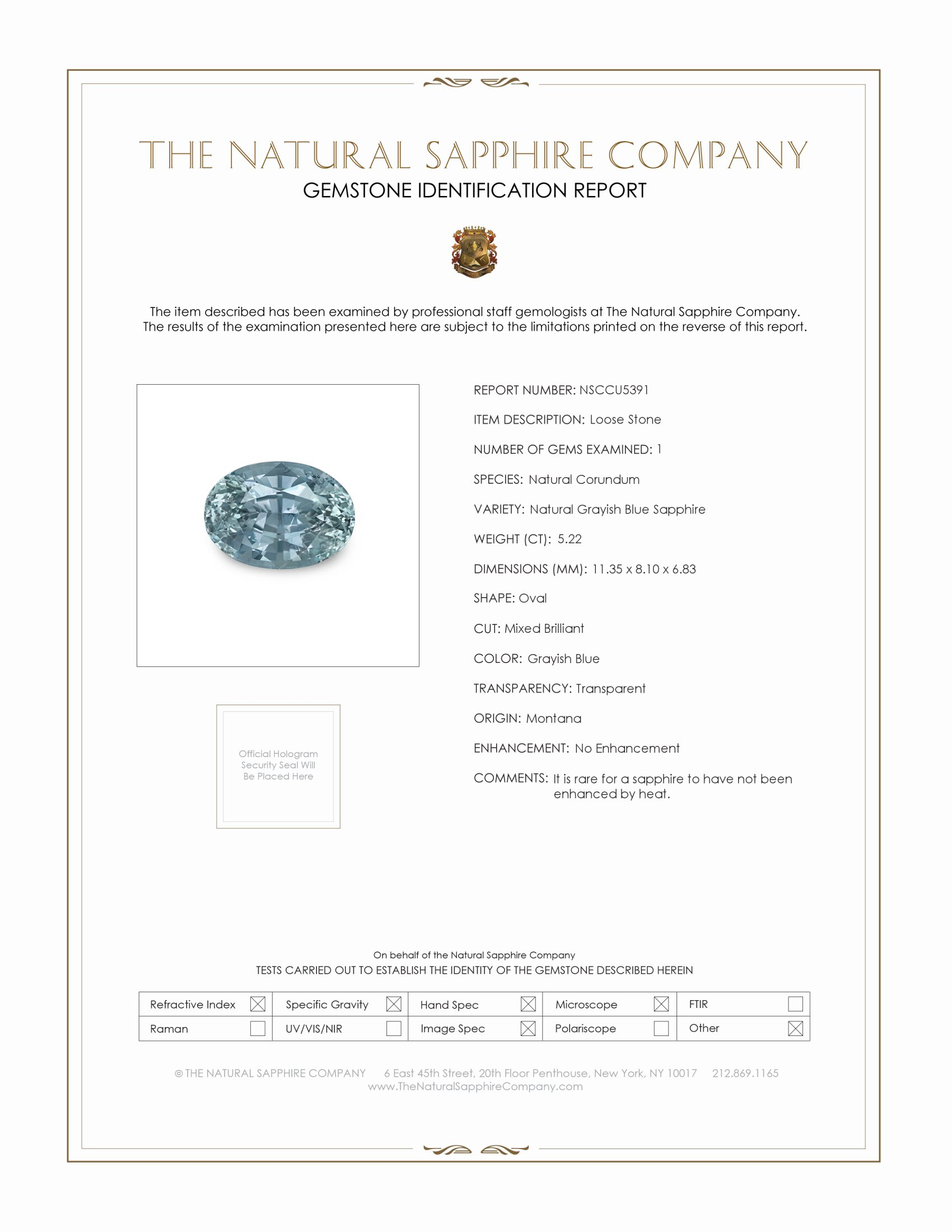 Natural Untreated Grayish Blue Sapphire U5391 Certification
