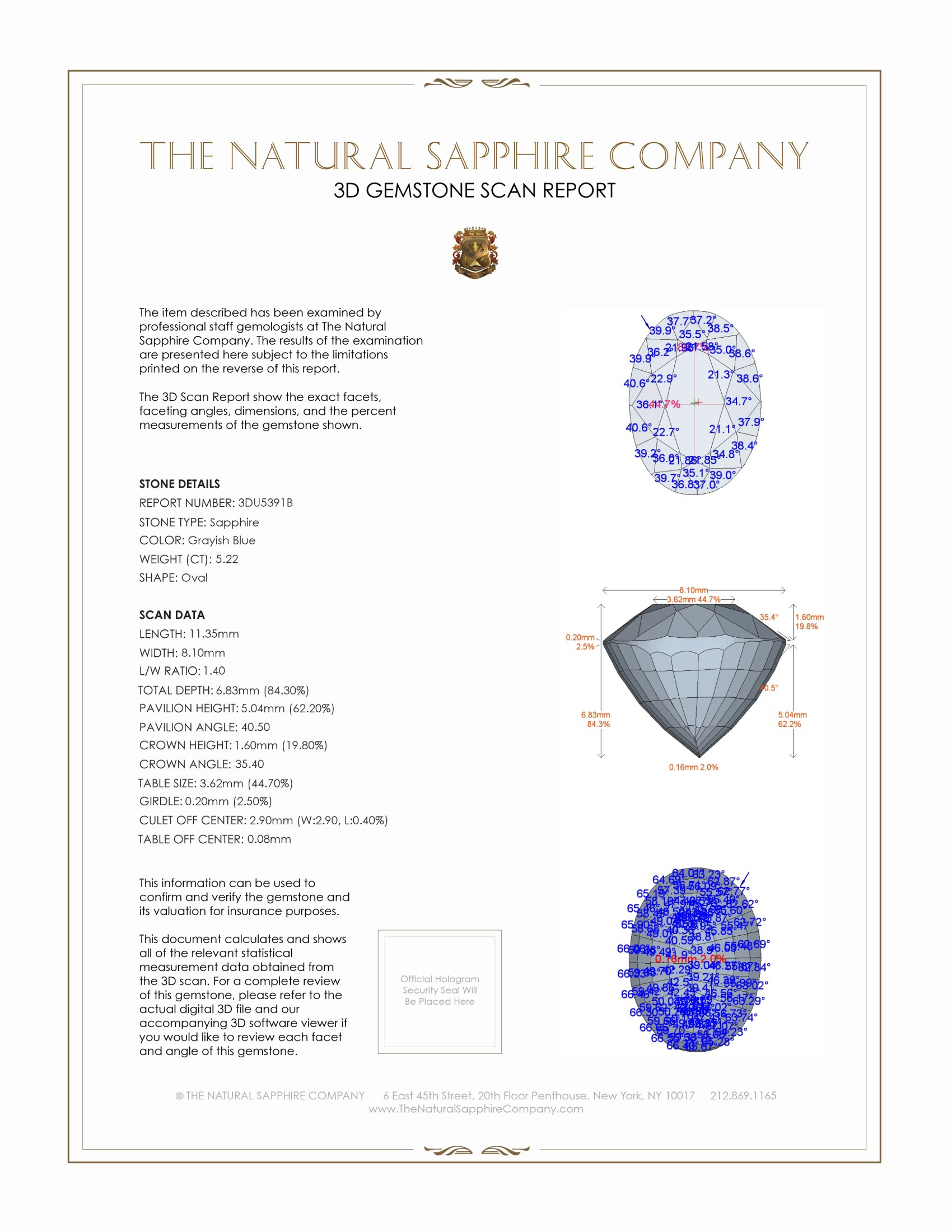 Natural Untreated Grayish Blue Sapphire U5391 Certification 2