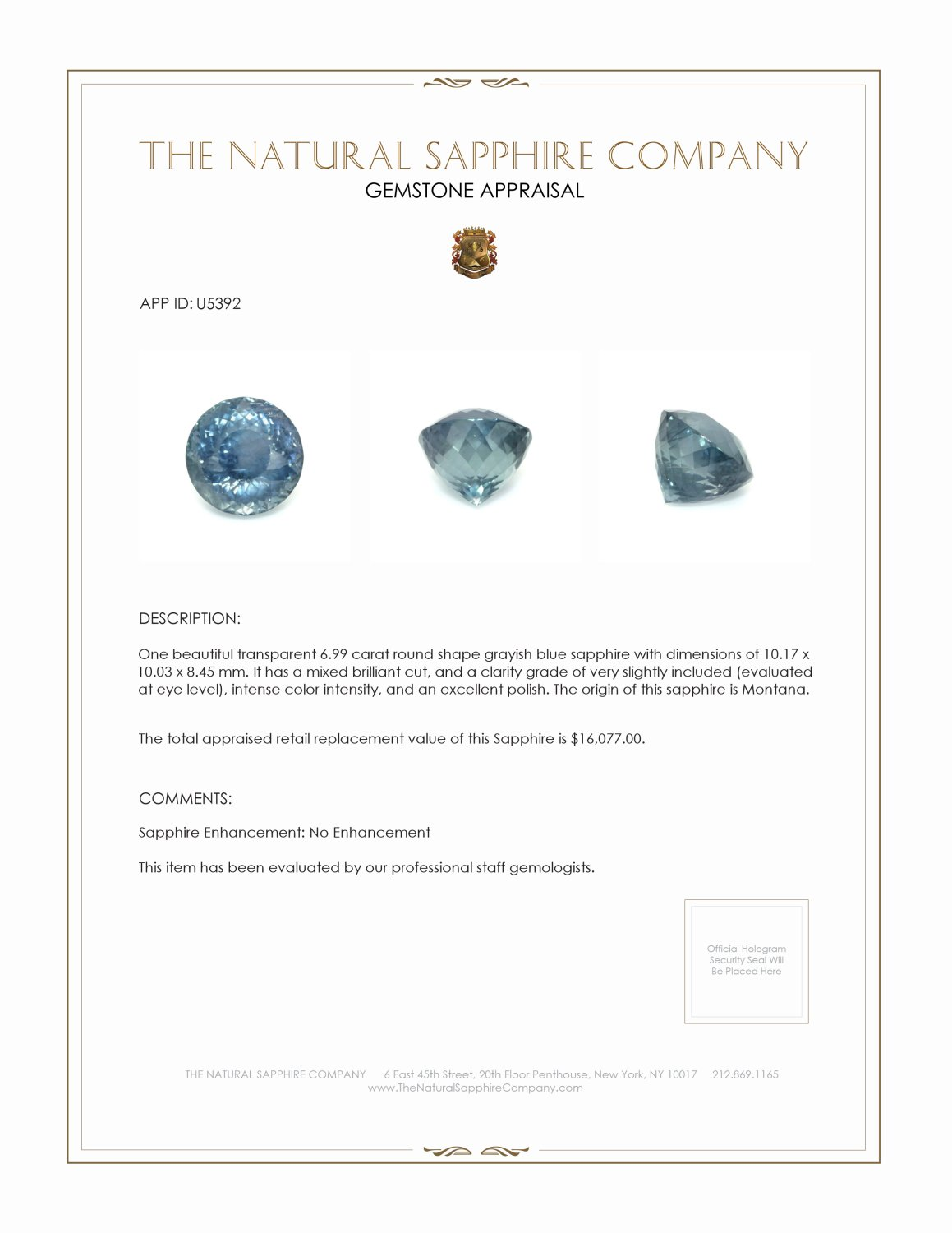Natural Untreated Greenish Blue Sapphire U5392 Certification 3