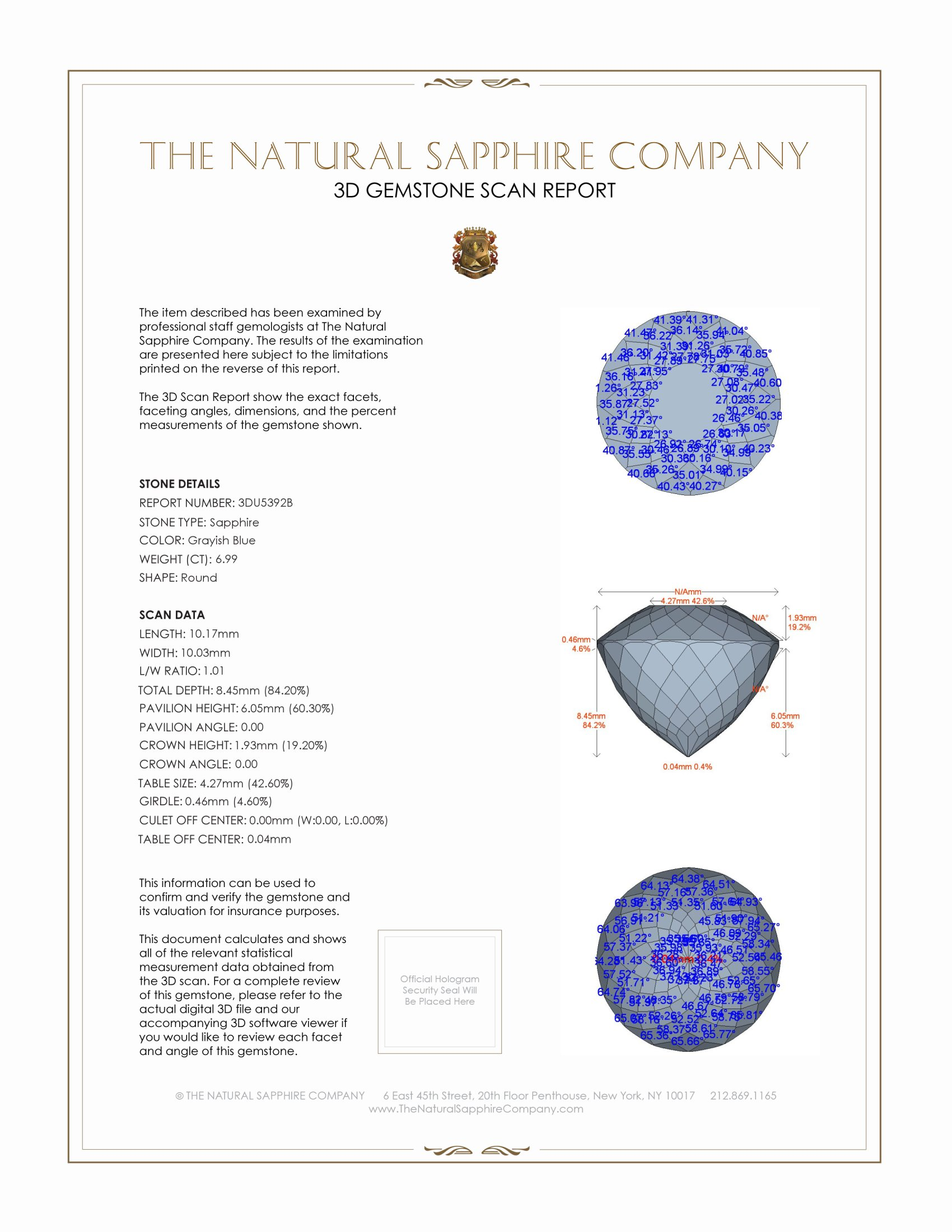 Natural Untreated Greenish Blue Sapphire U5392 Certification 2
