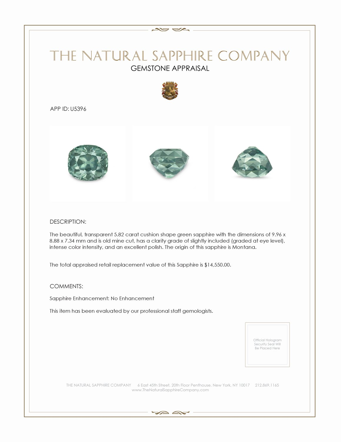 Natural Untreated Green Sapphire U5396 Certification 3