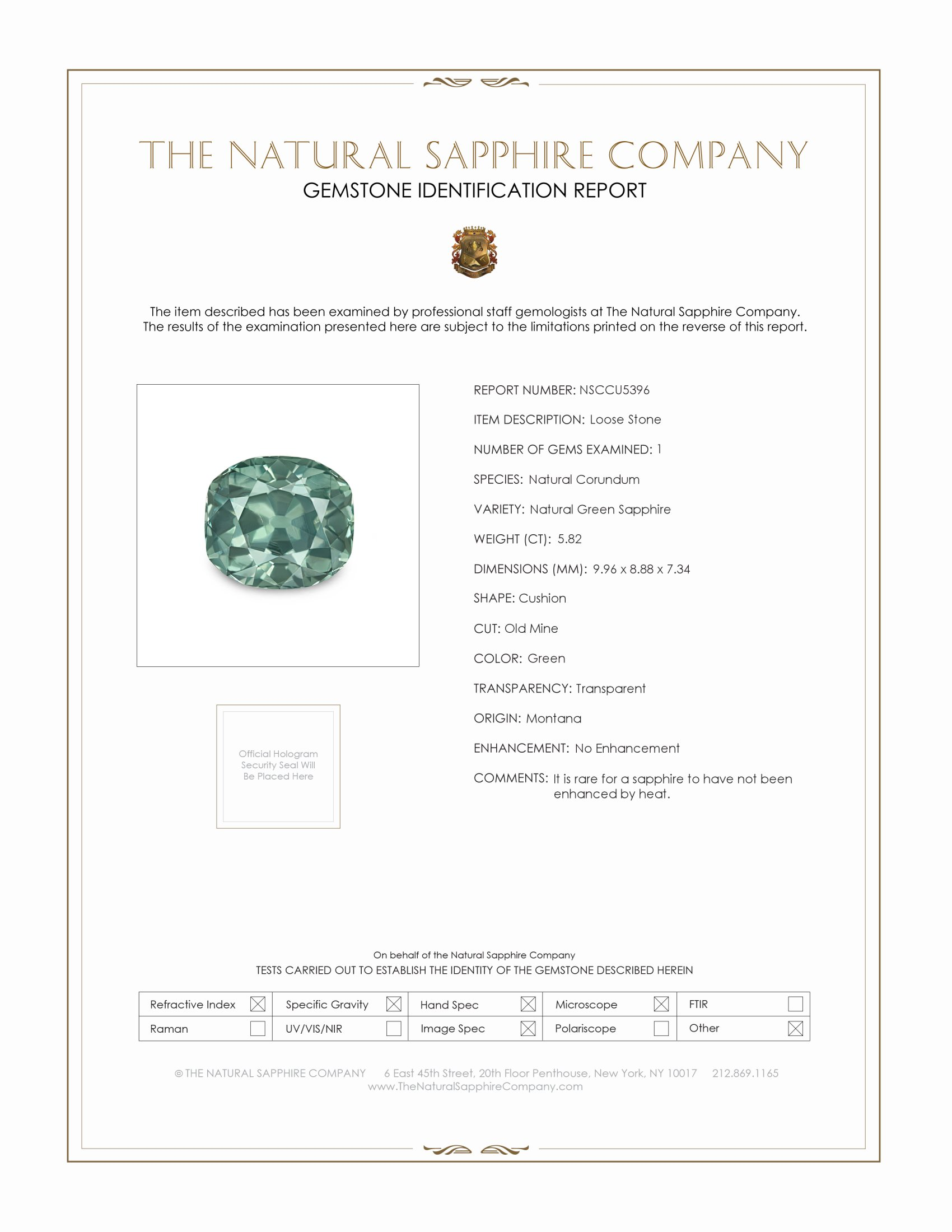 Natural Untreated Green Sapphire U5396 Certification
