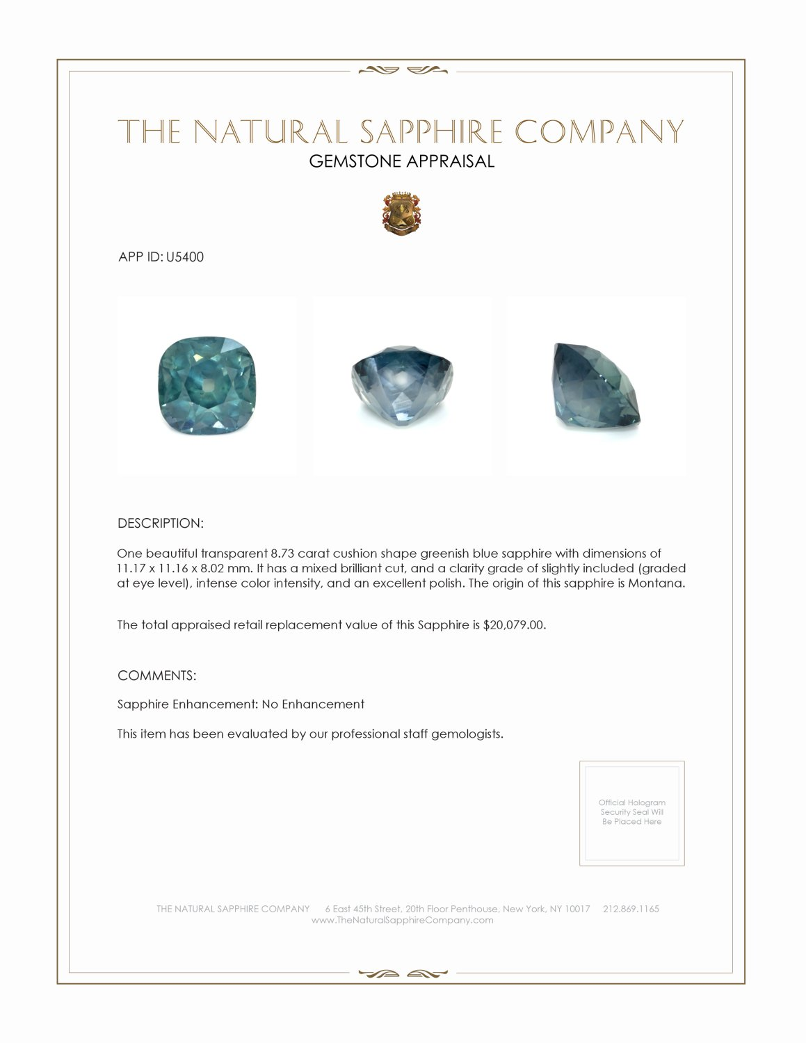 Natural Untreated Bluish Green Sapphire U5400 Certification