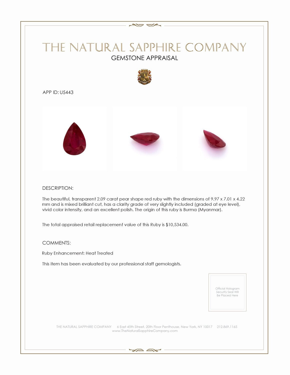 Natural Ruby U5443 Certification 3