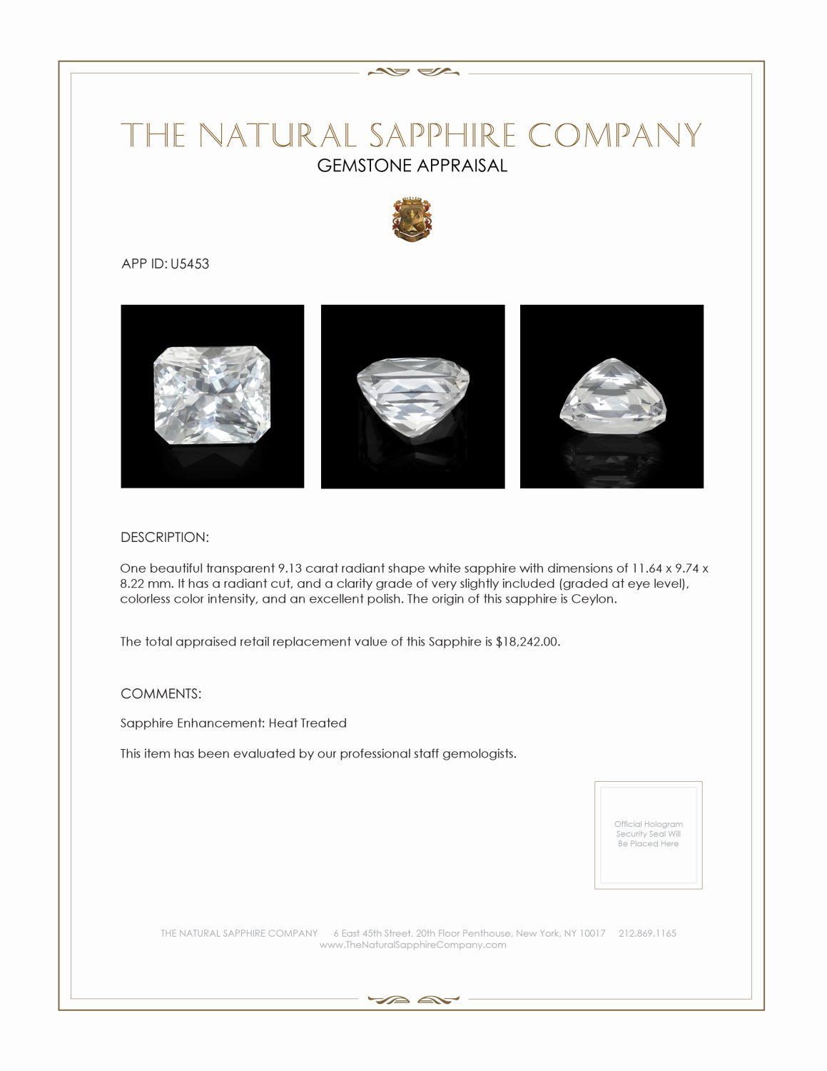 Natural White Sapphire U5453 Certification 3