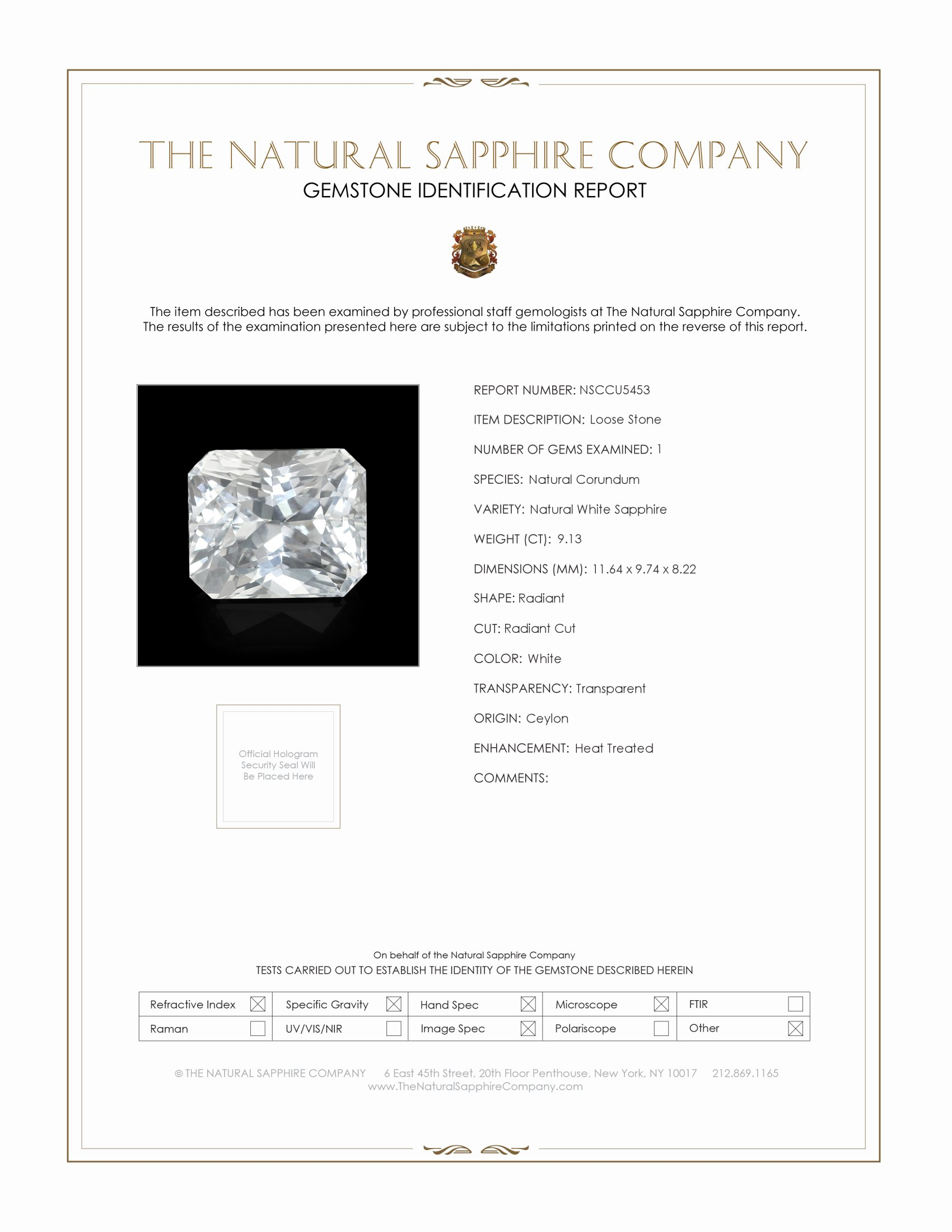 Natural White Sapphire U5453 Certification