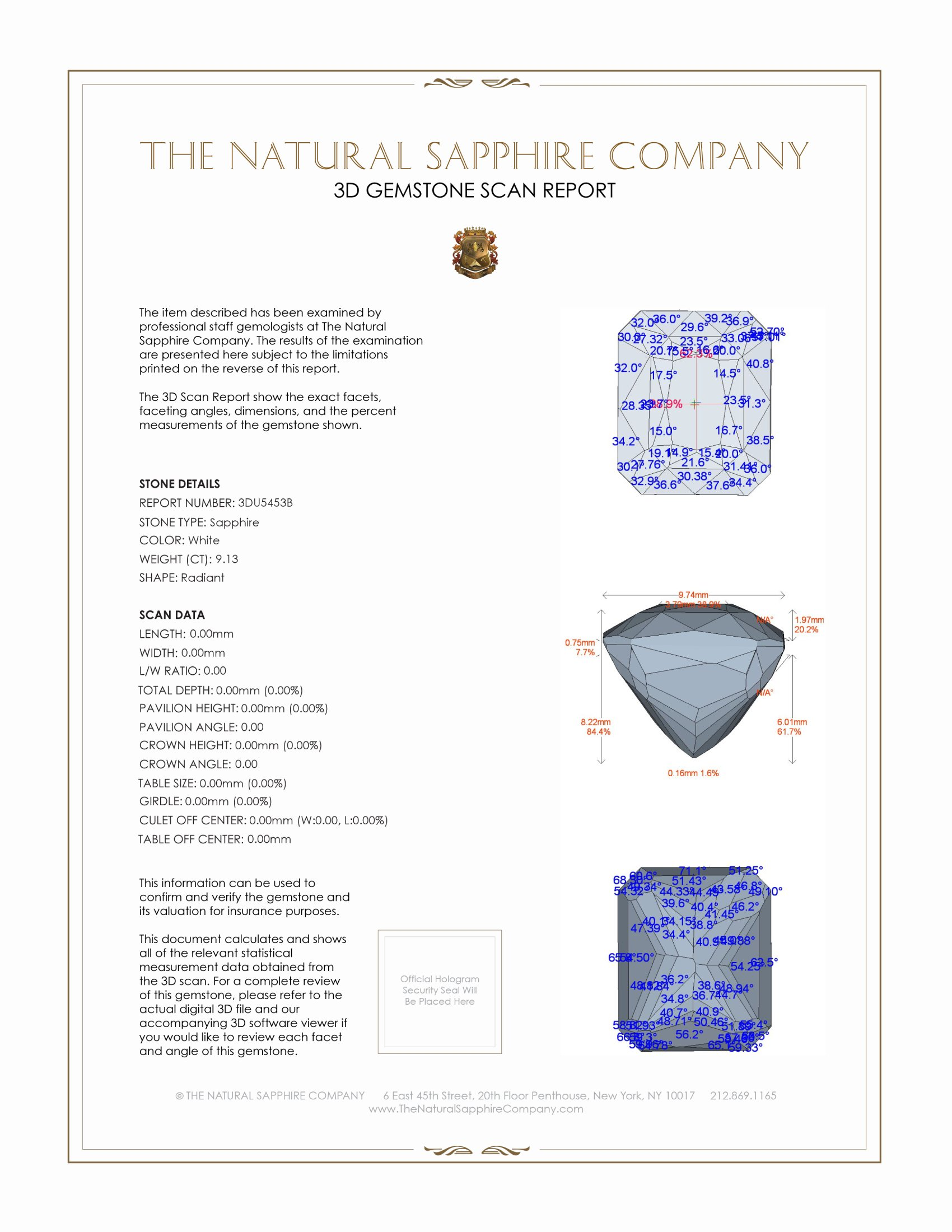 Natural White Sapphire U5453 Certification 2