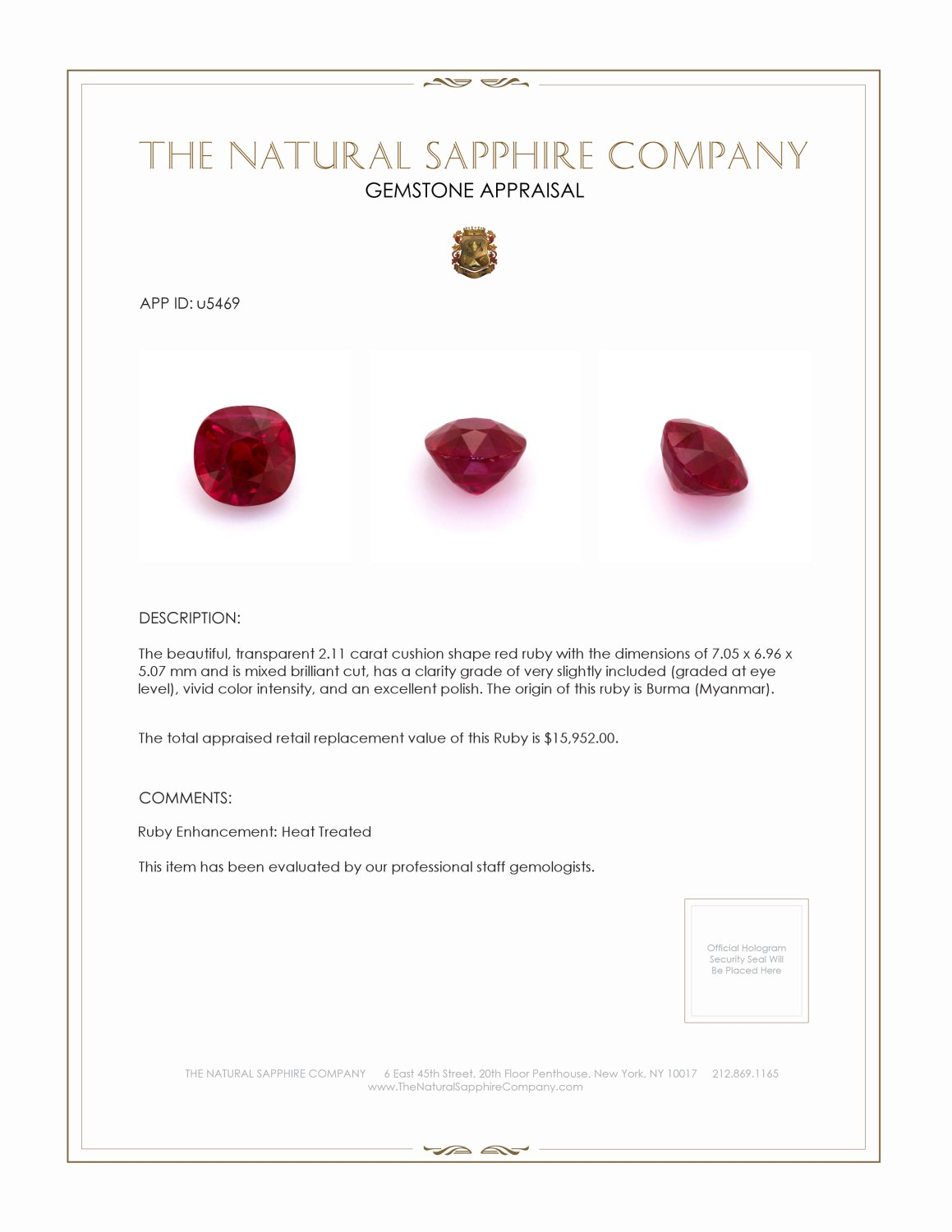 Natural Ruby U5469 Certification 4