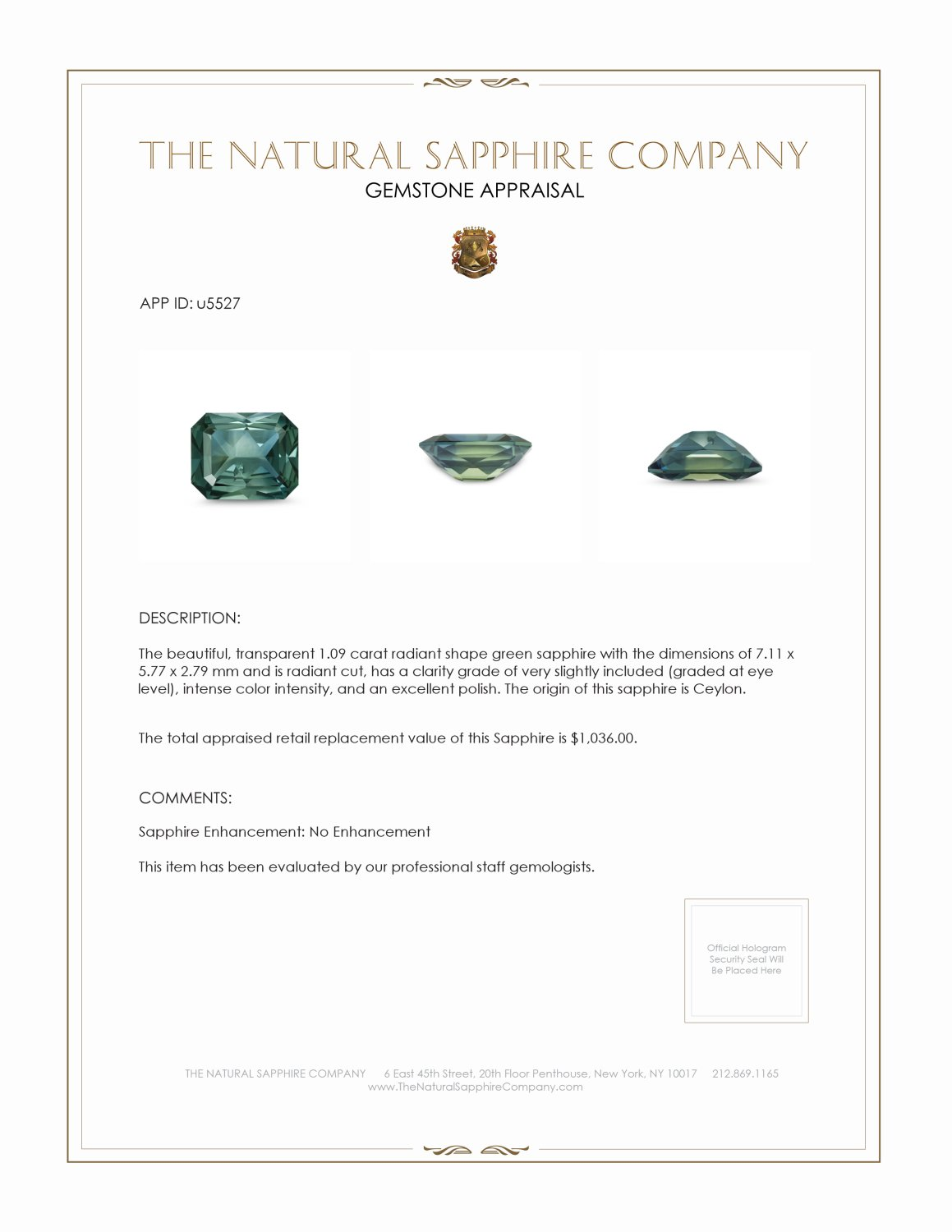 Natural Untreated Yellowish Green Sapphire U5527 Certification 3