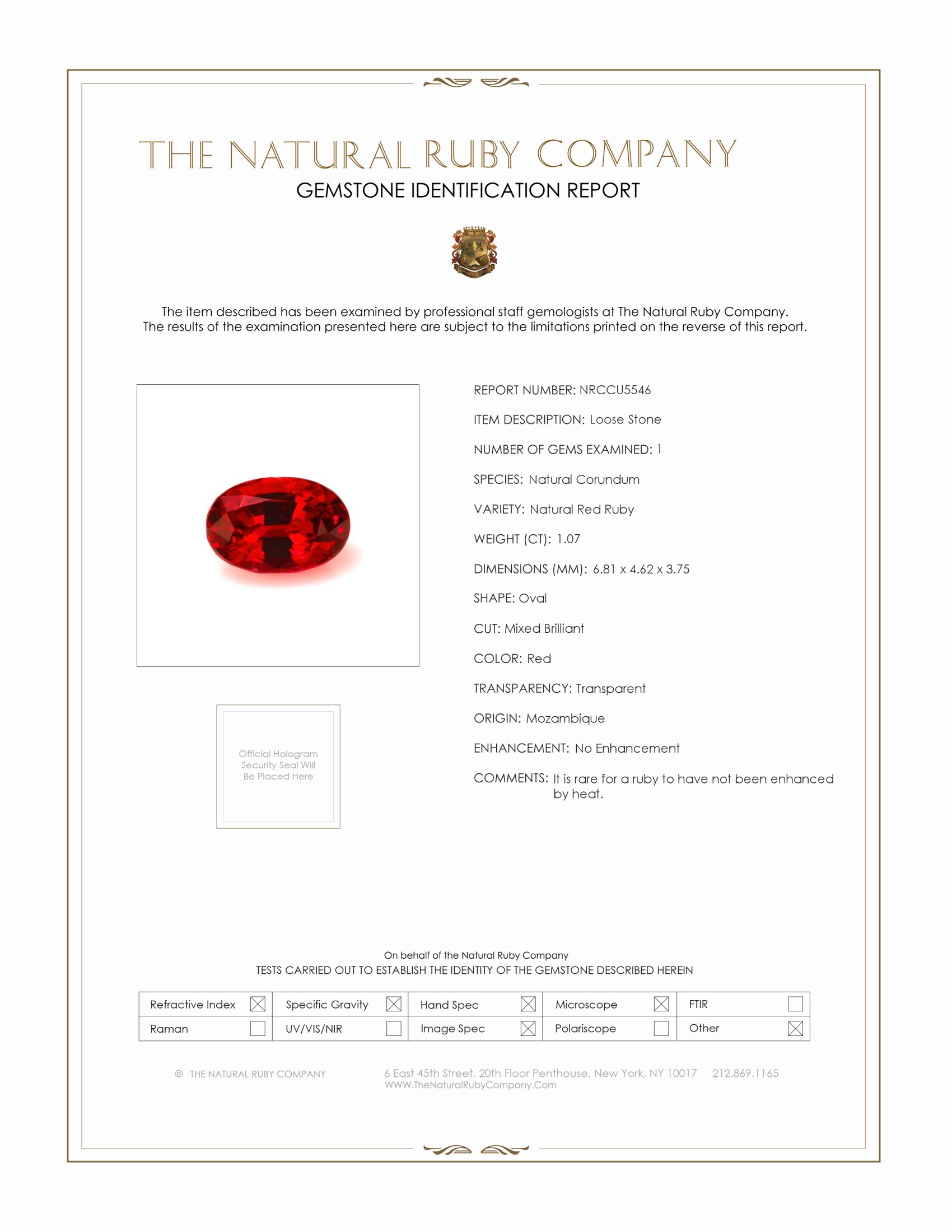 Natural Untreated Ruby U5546 Certification