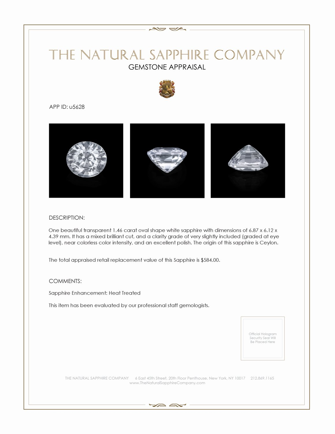 Natural White Sapphire U5628 Certification 3