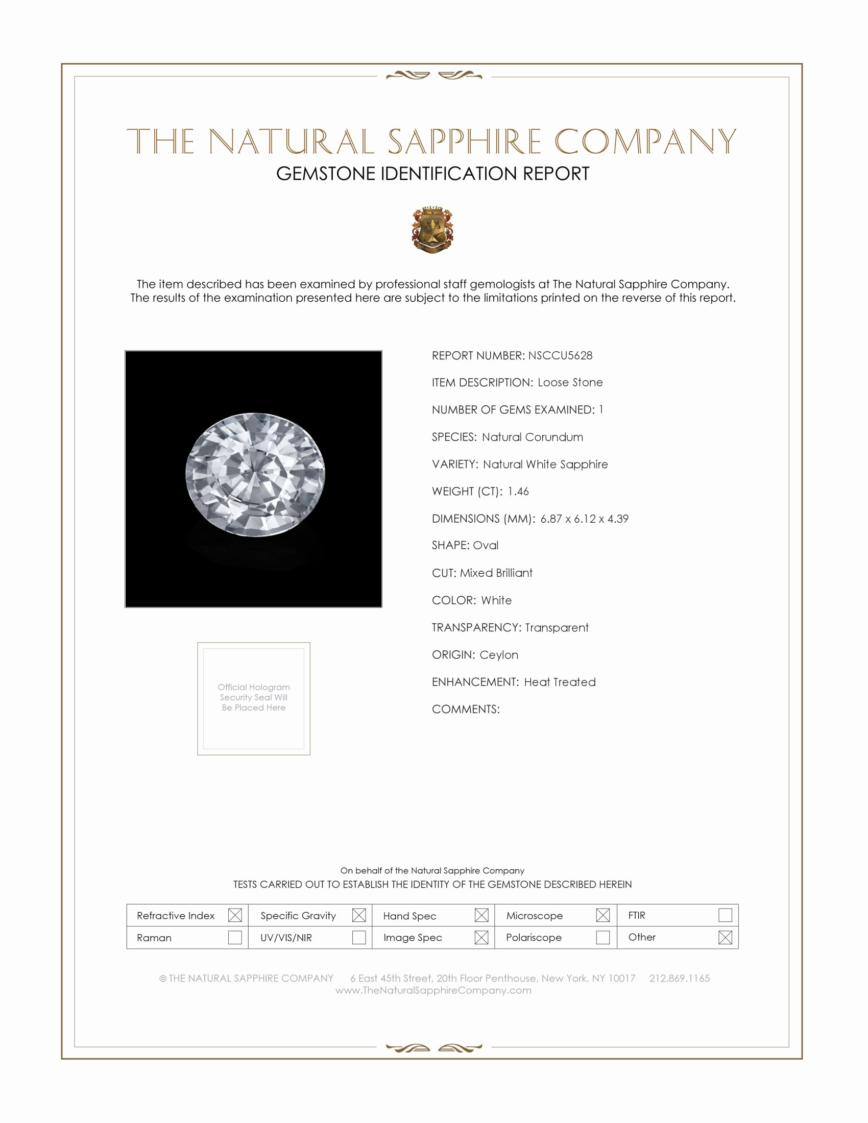 Natural White Sapphire U5628 Certification
