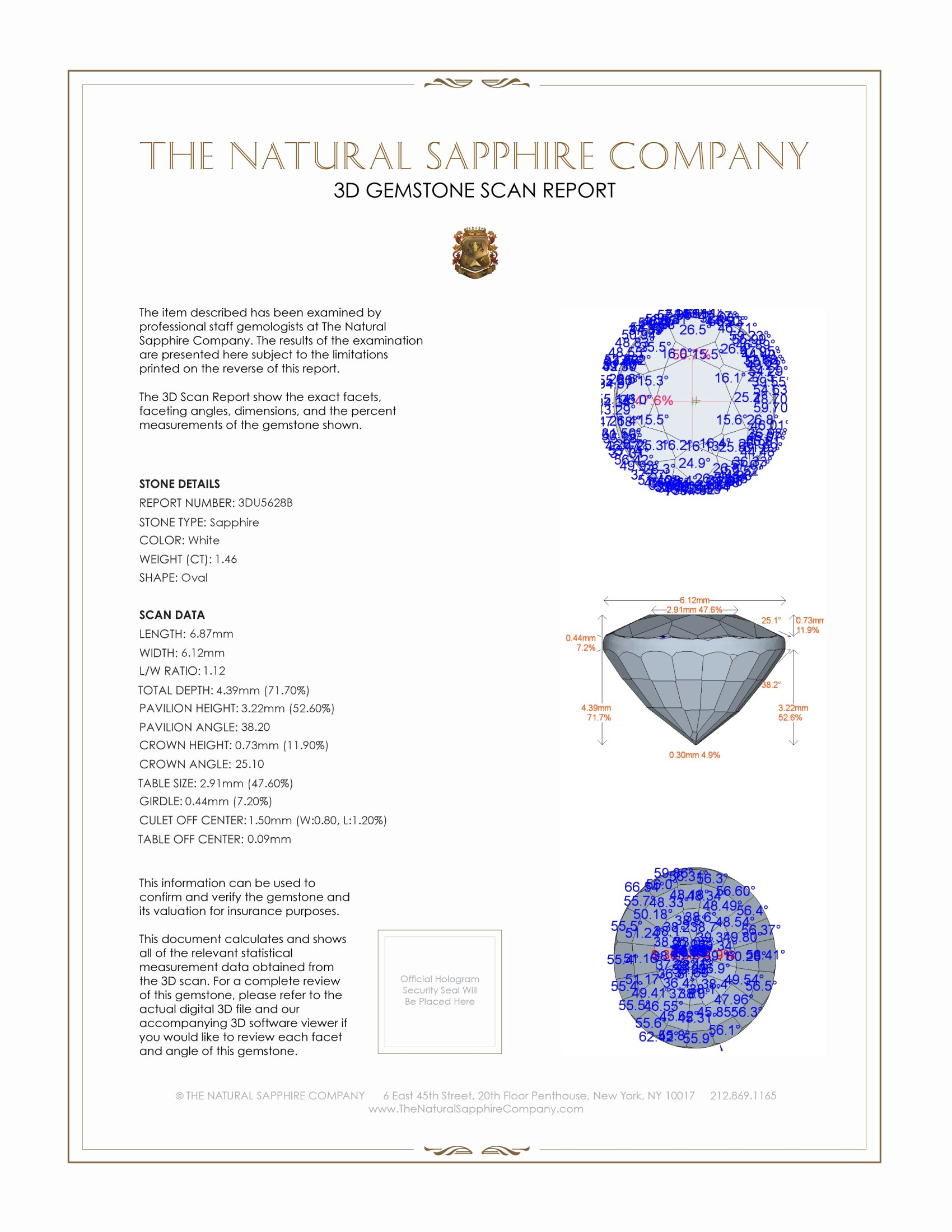 Natural White Sapphire U5628 Certification 2