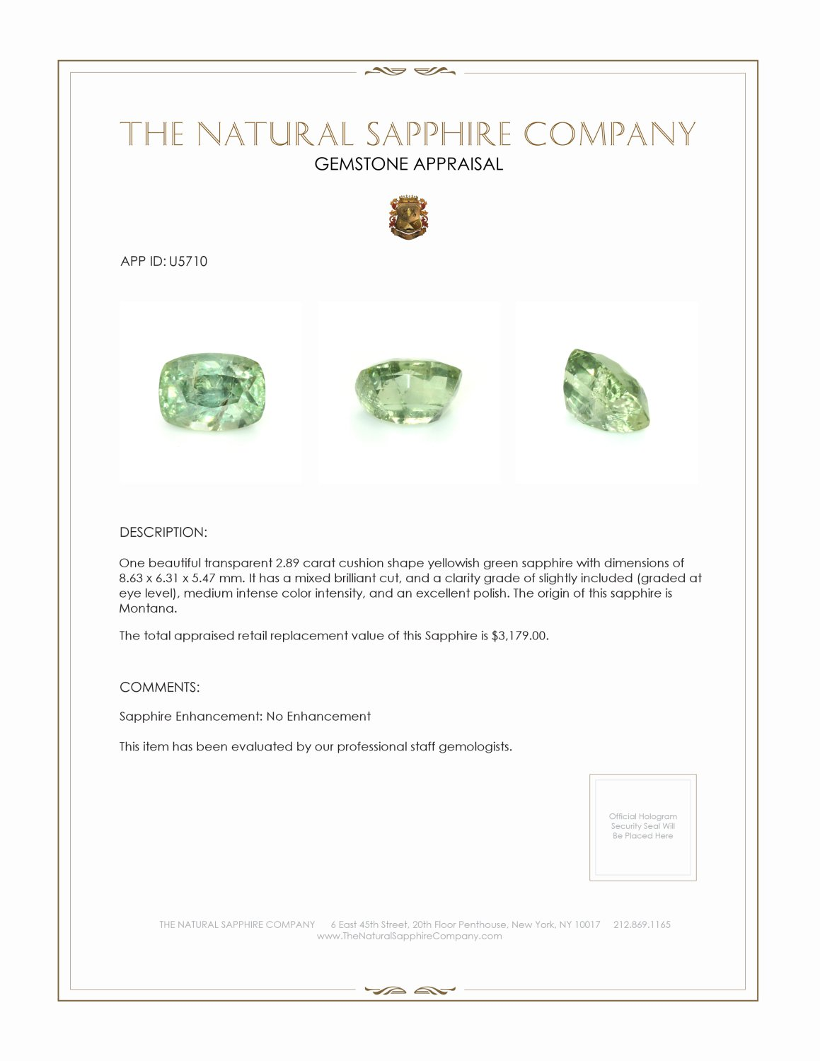 Natural Untreated Yellowish Green Sapphire U5710 Certification 3