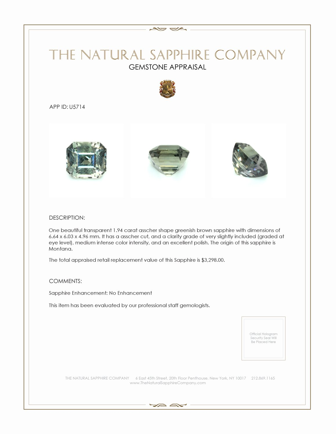 Natural Untreated Color-Change Sapphire U5714 Certification 3