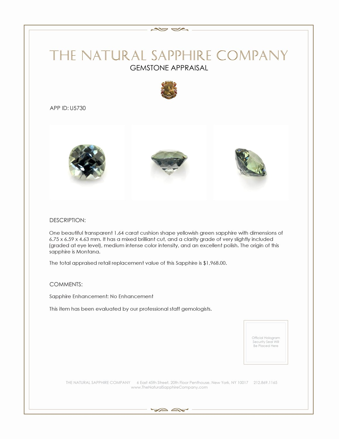 Natural Untreated Yellowish Green Sapphire U5730 Certification 3
