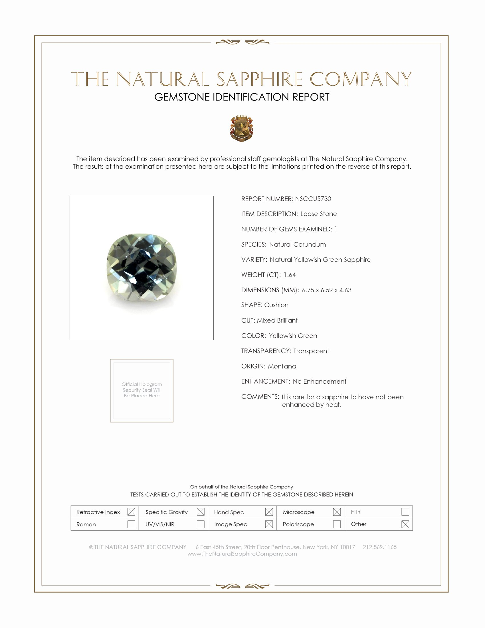 Natural Untreated Yellowish Green Sapphire U5730 Certification