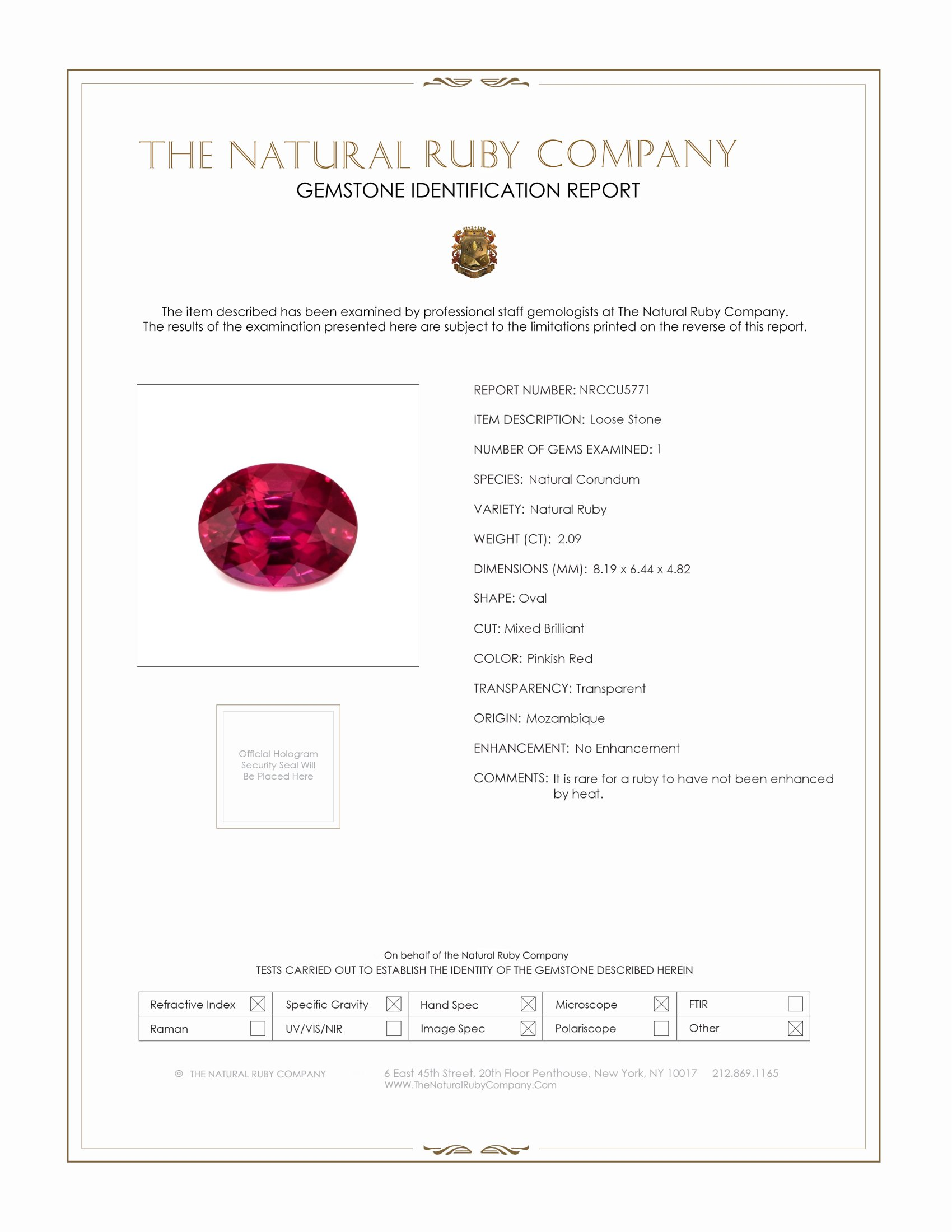 Natural Untreated Ruby U5771 Certification