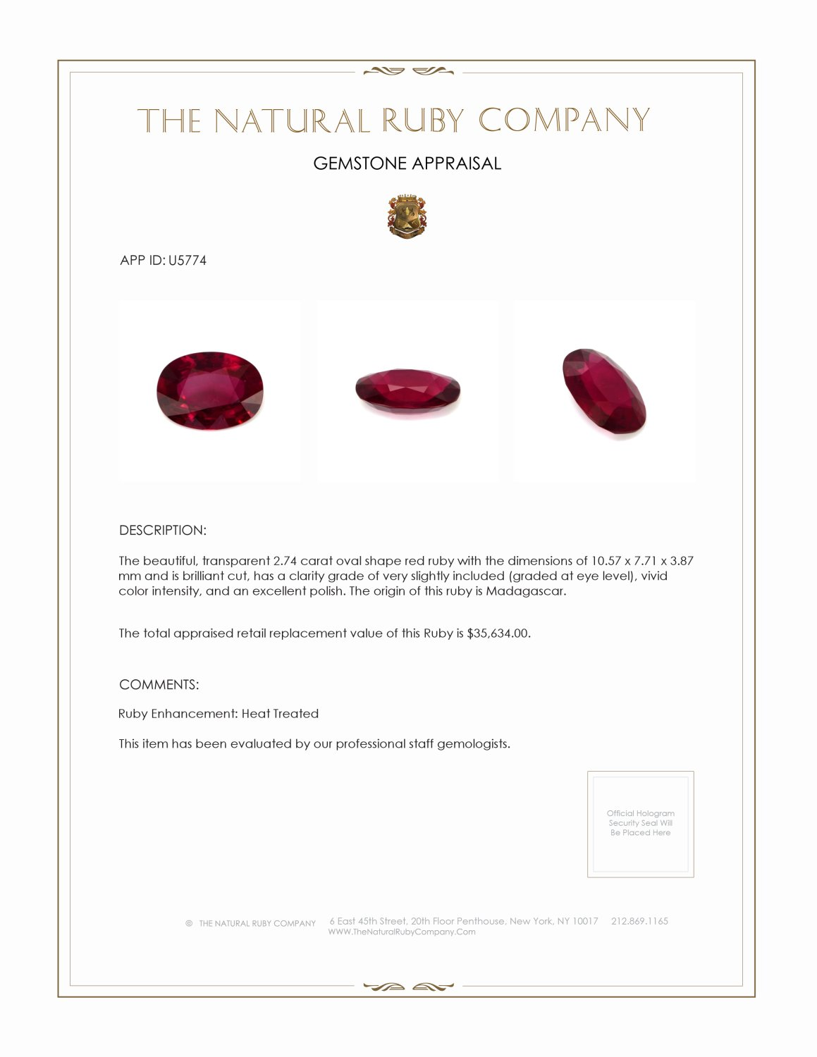 Natural Ruby U5774 Certification 4