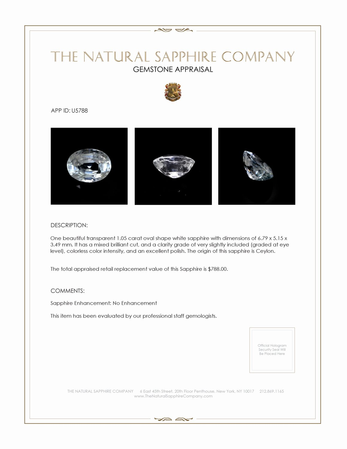 Natural White Sapphire U5788 Certification 3