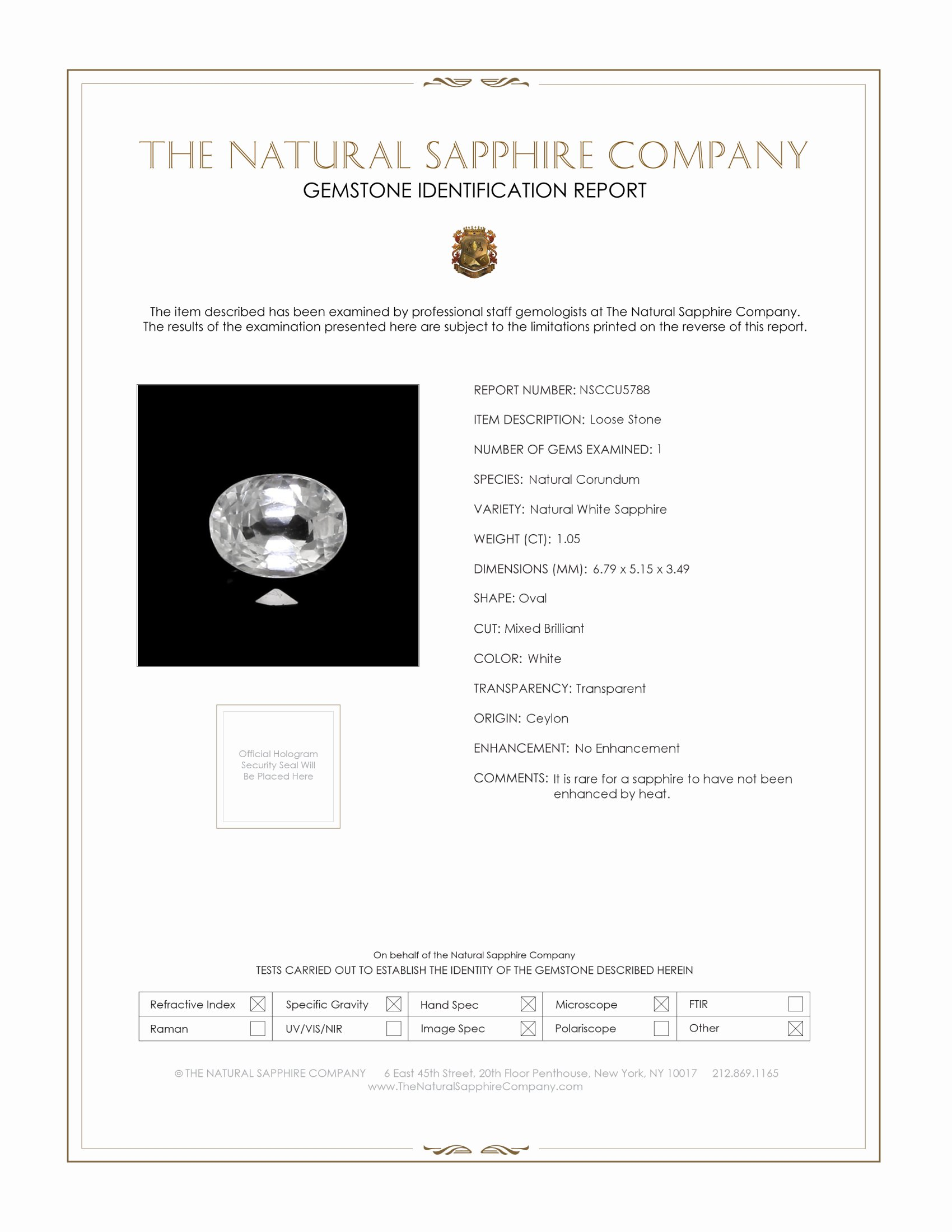 Natural White Sapphire U5788 Certification