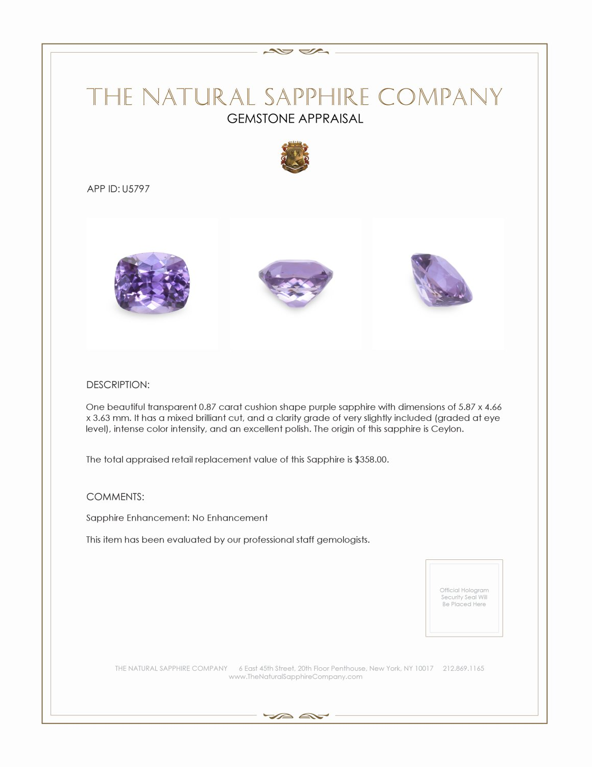 Natural Untreated Purple Sapphire U5797 Certification 3