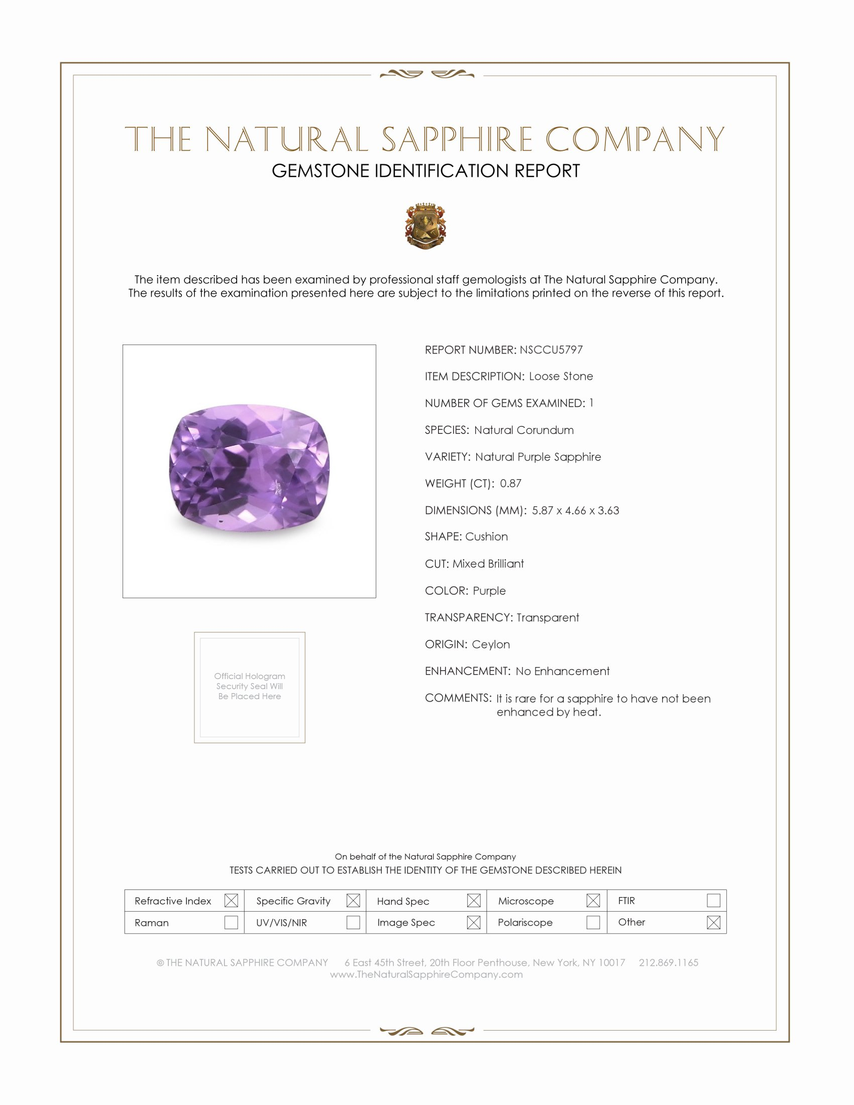 Natural Untreated Purple Sapphire U5797 Certification
